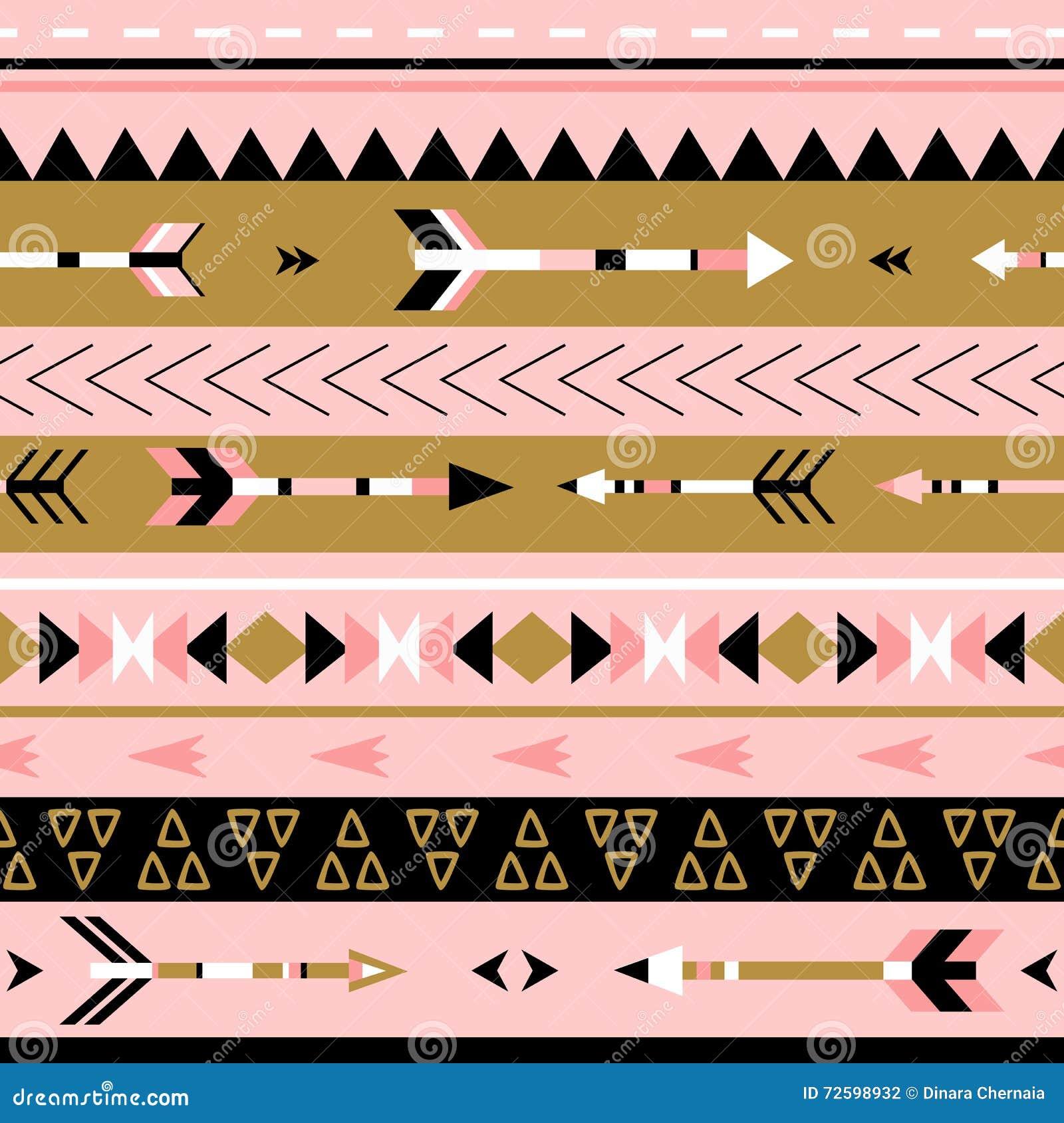 Modello senza cuciture di boho tribale delle frecce Stampa geometrica etnica