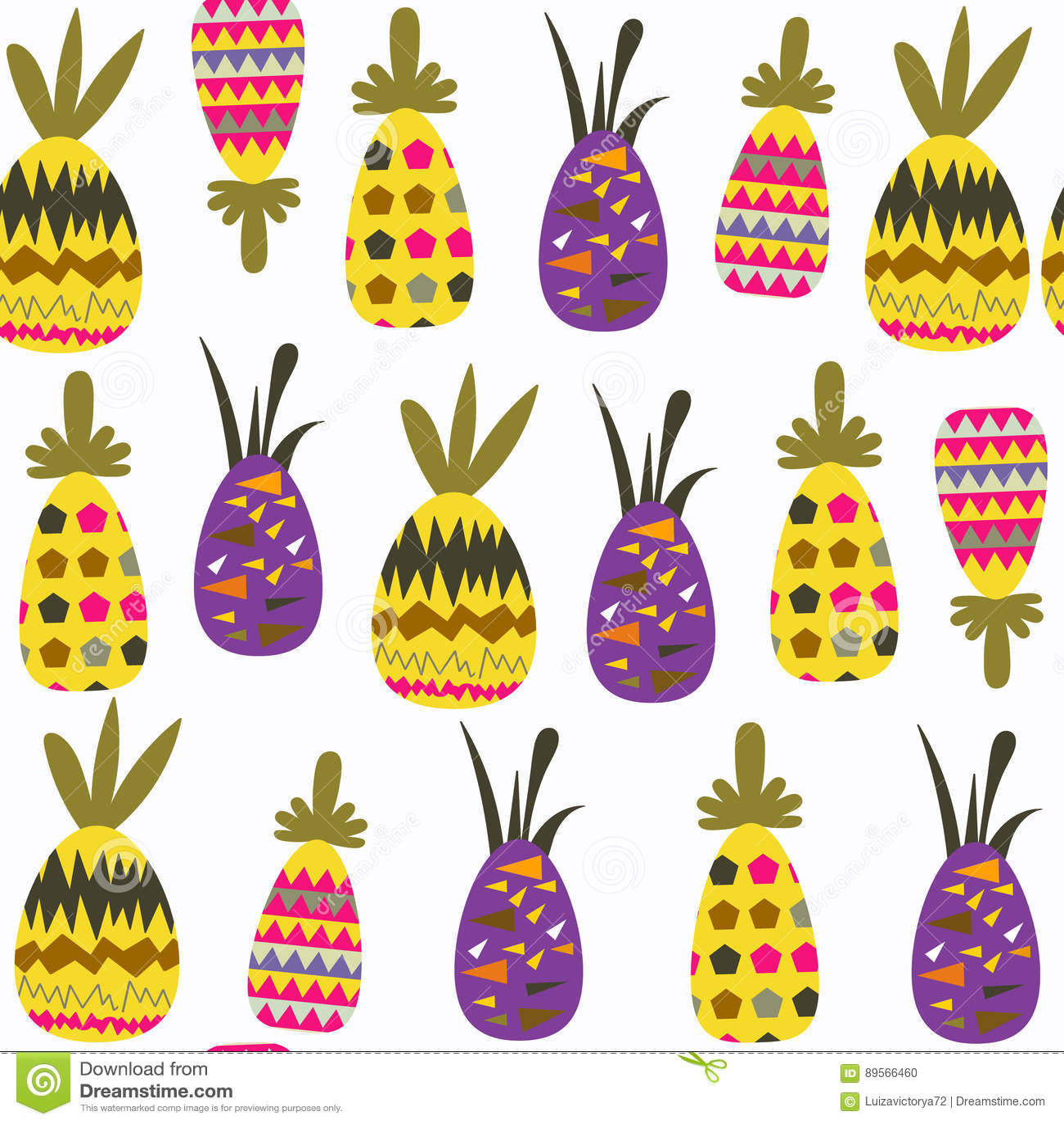 Modello senza cuciture di fantasia degli ananas È situato nel menu del campione, immagine Fondo sveglio delle mattonelle per prog