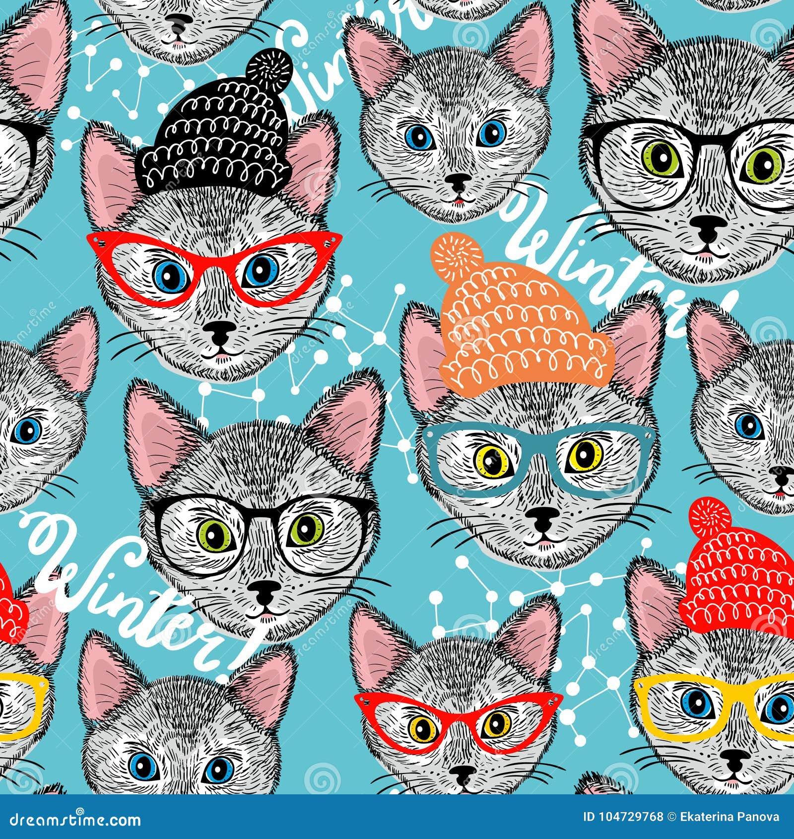 Modello Senza Cuciture Di Inverno Con Il Gatto In Cappello