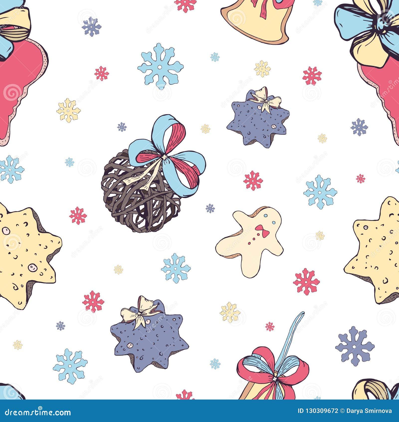 Modello senza cuciture di Natale con gli elementi della decorazione tradizionale: dolci e giocattoli, biscotto, campana ed archi