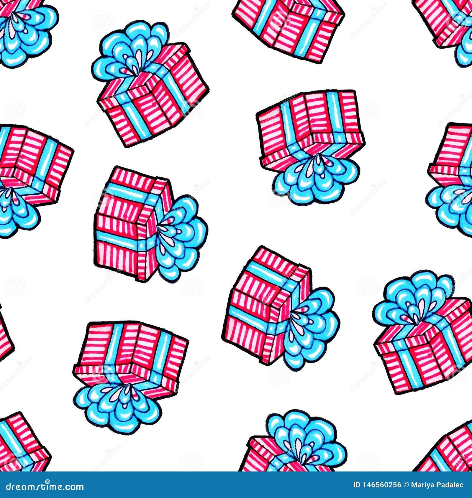 Modello senza cuciture di Natale disegnato a mano Regalo blu con il nastro rosa su un fondo bianco Nuovo anno felice
