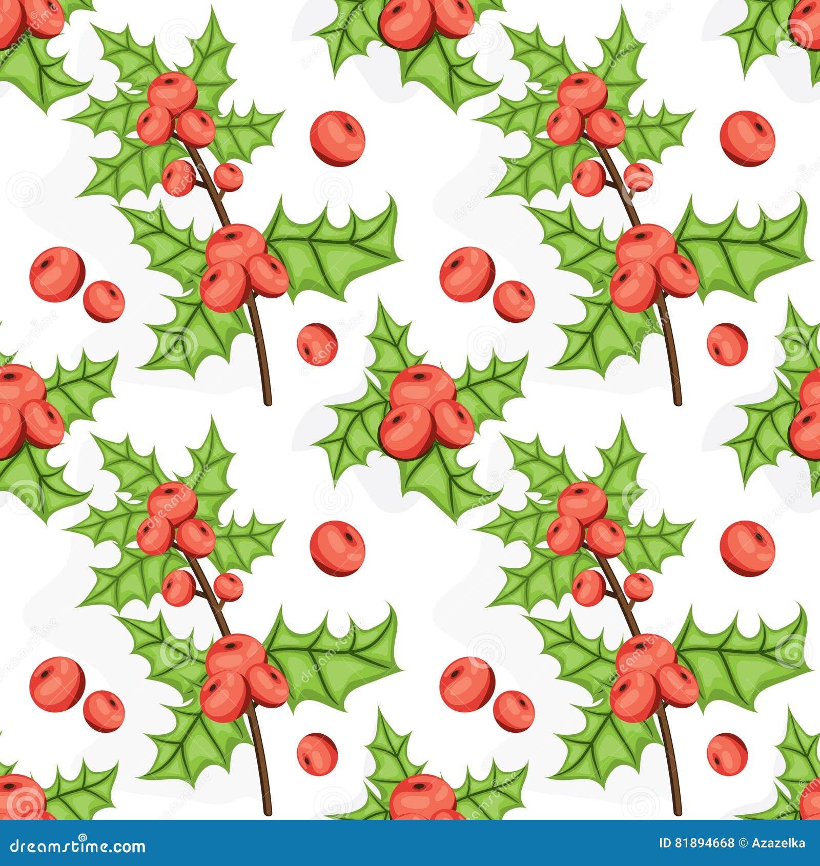 Modello senza cuciture di Noel con la bacca dell agrifoglio Fondo di Natale delle mattonelle Vettore illustrato ripetendo struttu