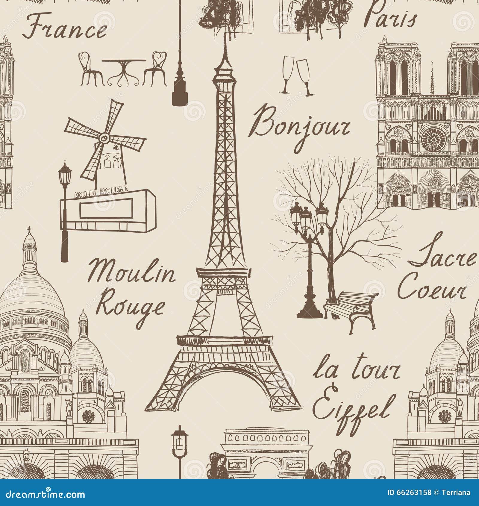 Conosciuto Modello Senza Cuciture Di Parigi Di Viaggio Vacanza In Carta Da  WZ08