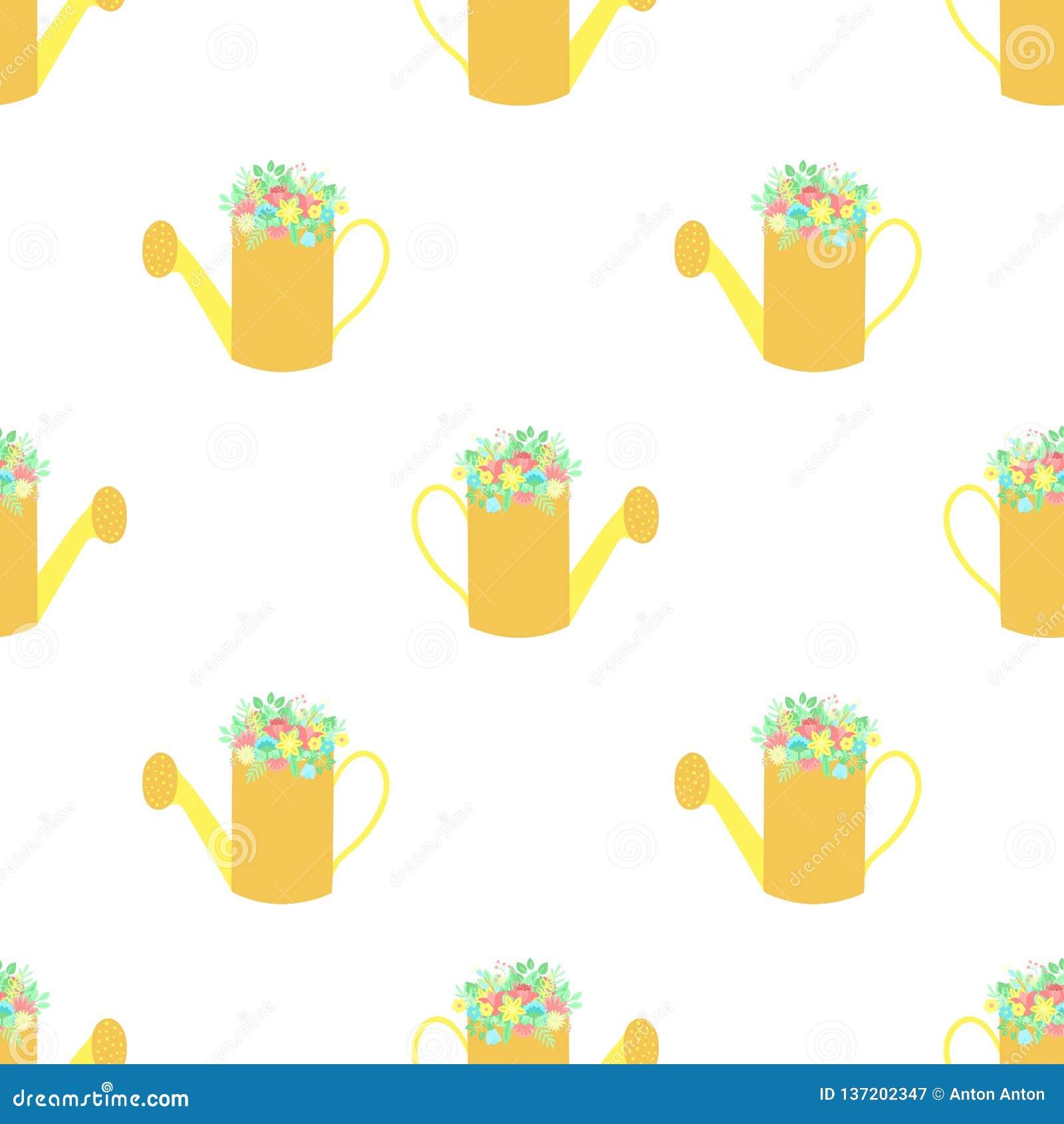 Modello senza cuciture di Pasqua con l annaffiatoio ed i fiori su un fondo trasparente Illustrazione disegnata a mano di vettore