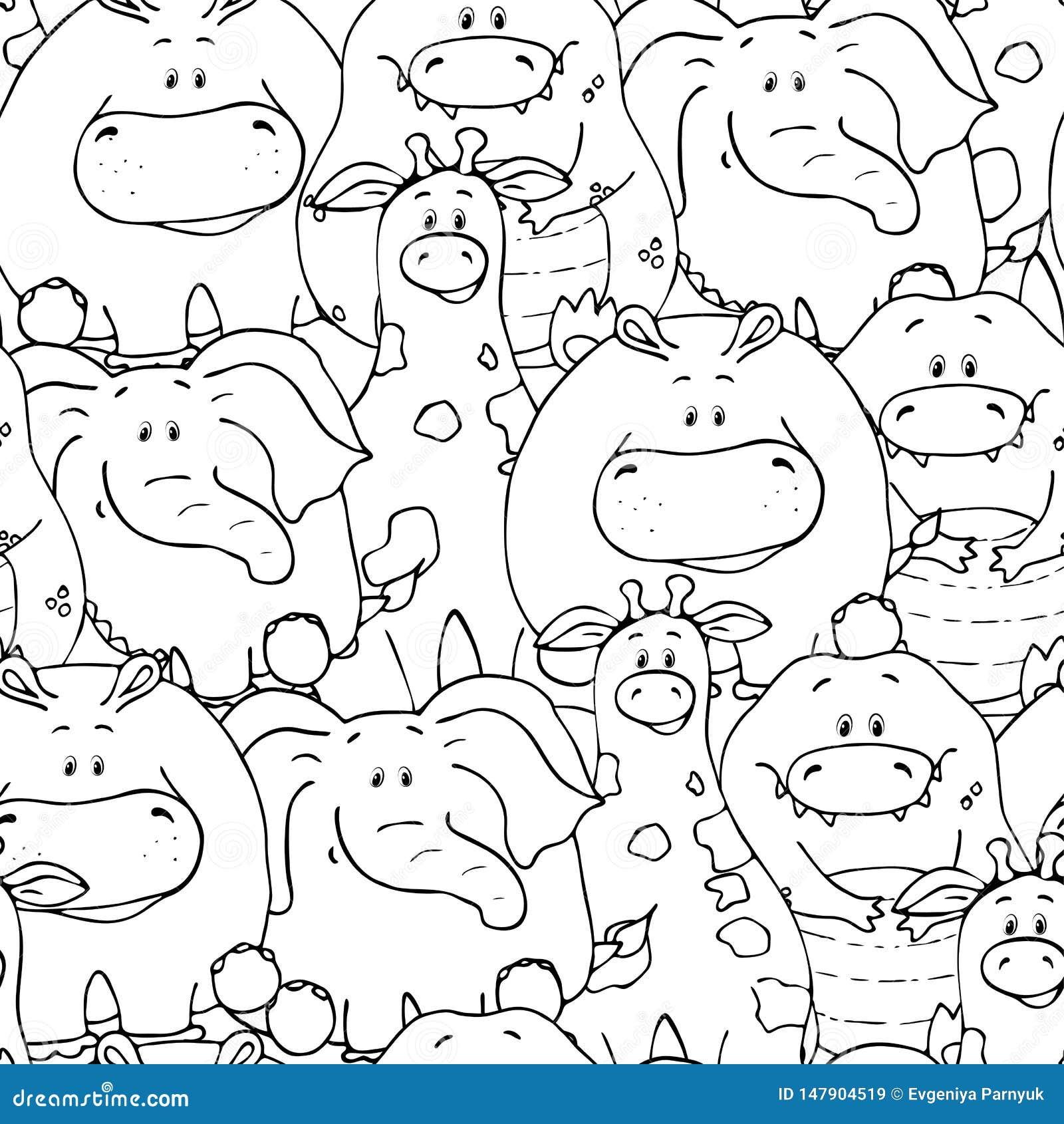 Modello senza cuciture di vettore con gli animali grassi svegli divertenti disegnati a mano Siluette degli animali su un fondo bi