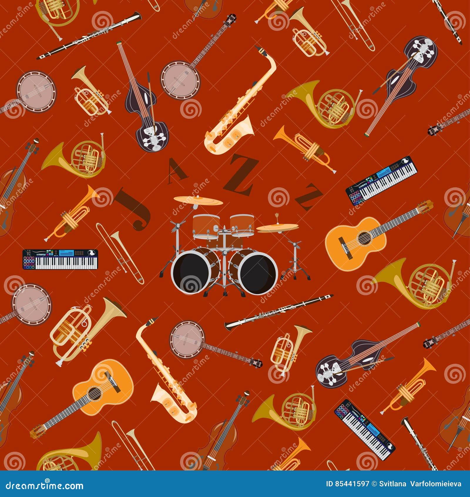 Modello senza cuciture di vettore con gli strumenti di musica di jazz