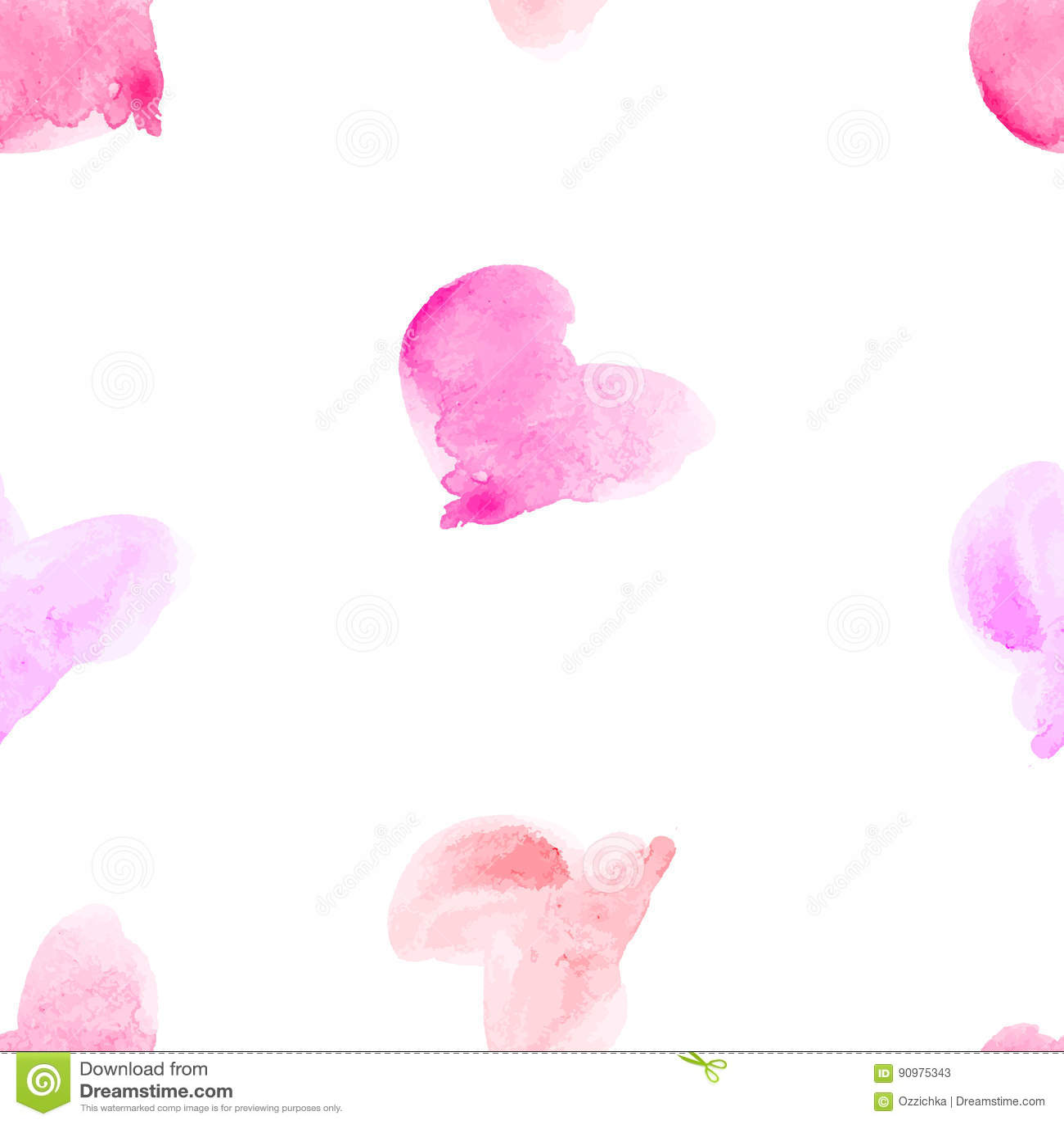 Modello senza cuciture di vettore con i cuori disegnati a mano dell acquerello Fondo romantico con i cuori rosa Vettore senza giu
