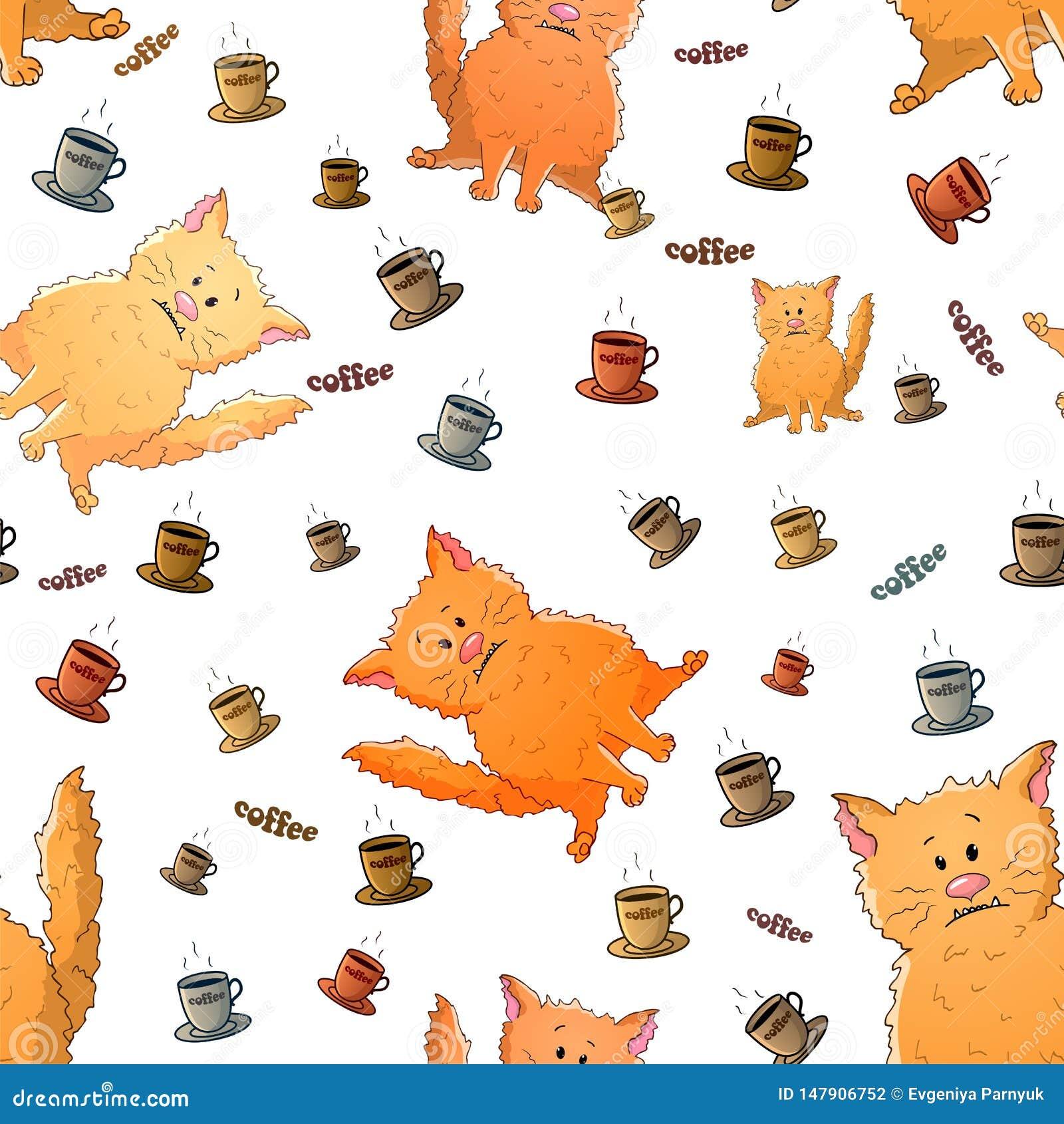 Modello senza cuciture di vettore con i gatti strani e le tazze di caff? del fumetto sveglio Animali divertenti Struttura su un f