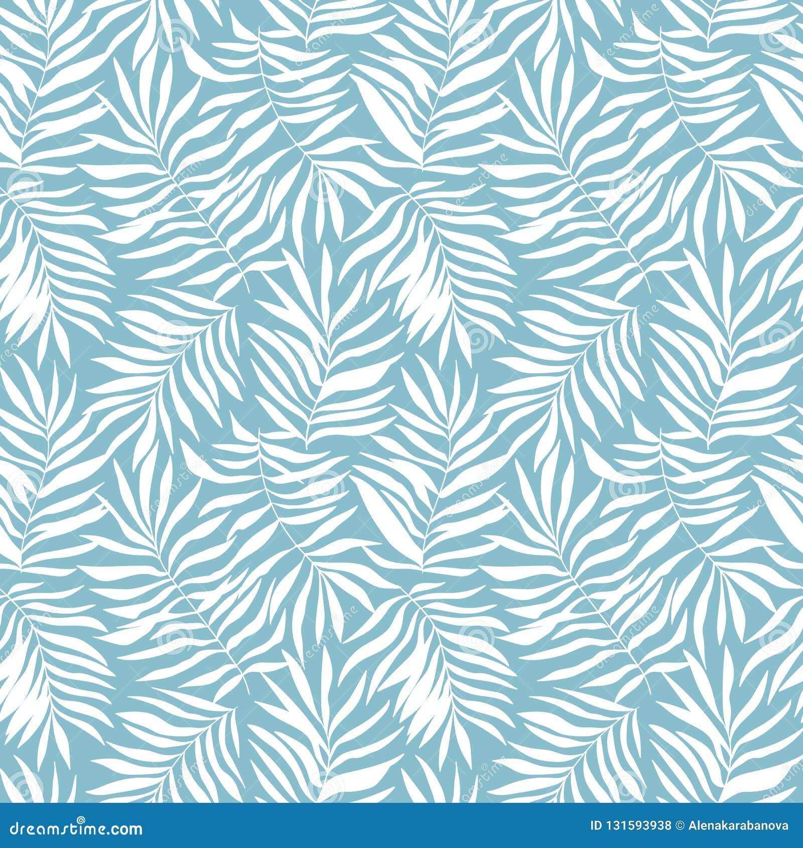 Modello senza cuciture di vettore con le foglie tropicali Bella stampa con le piante esotiche disegnate a mano Progettazione bota