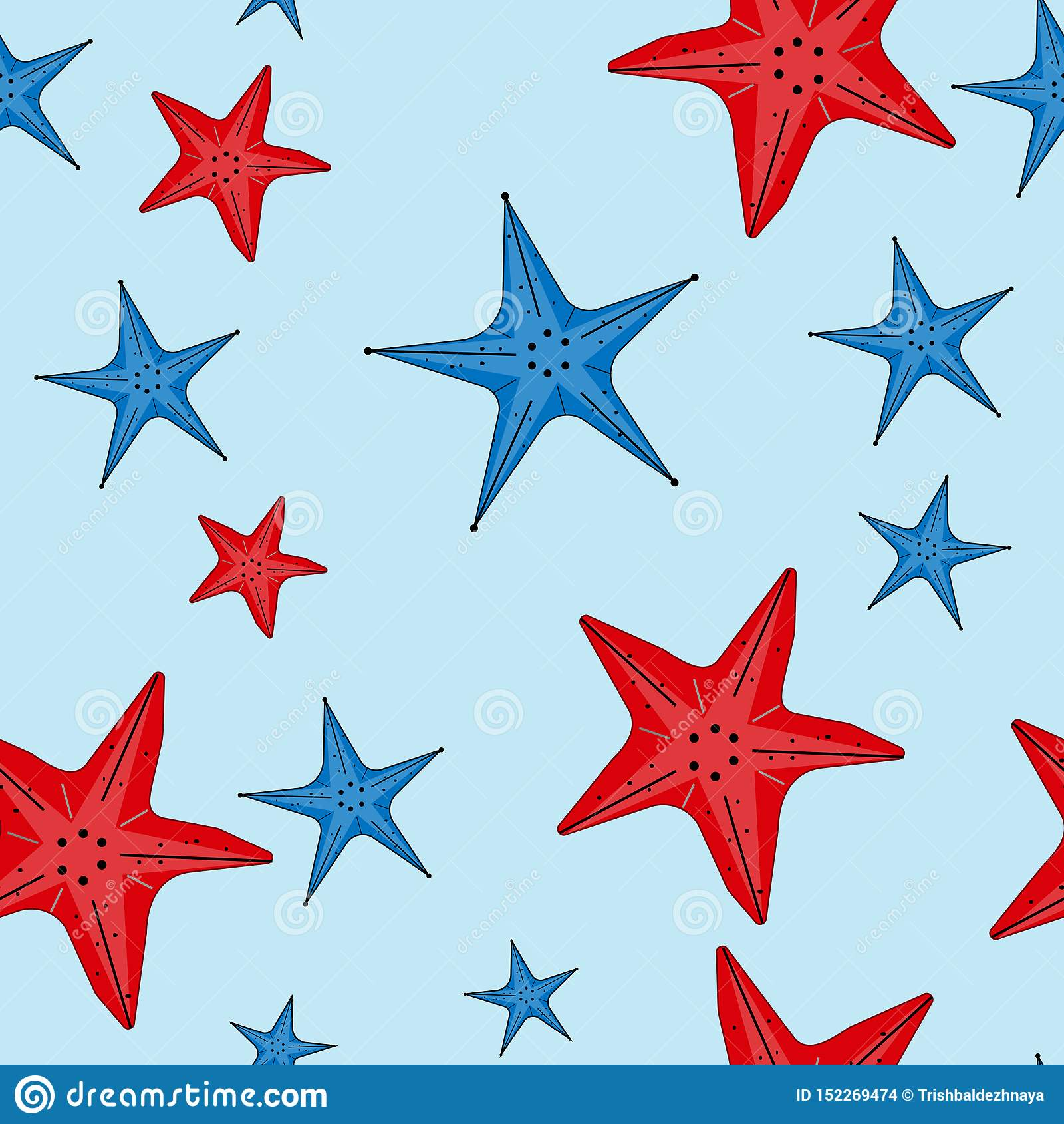 Modello senza cuciture di vettore con le stelle marine rosse e blu