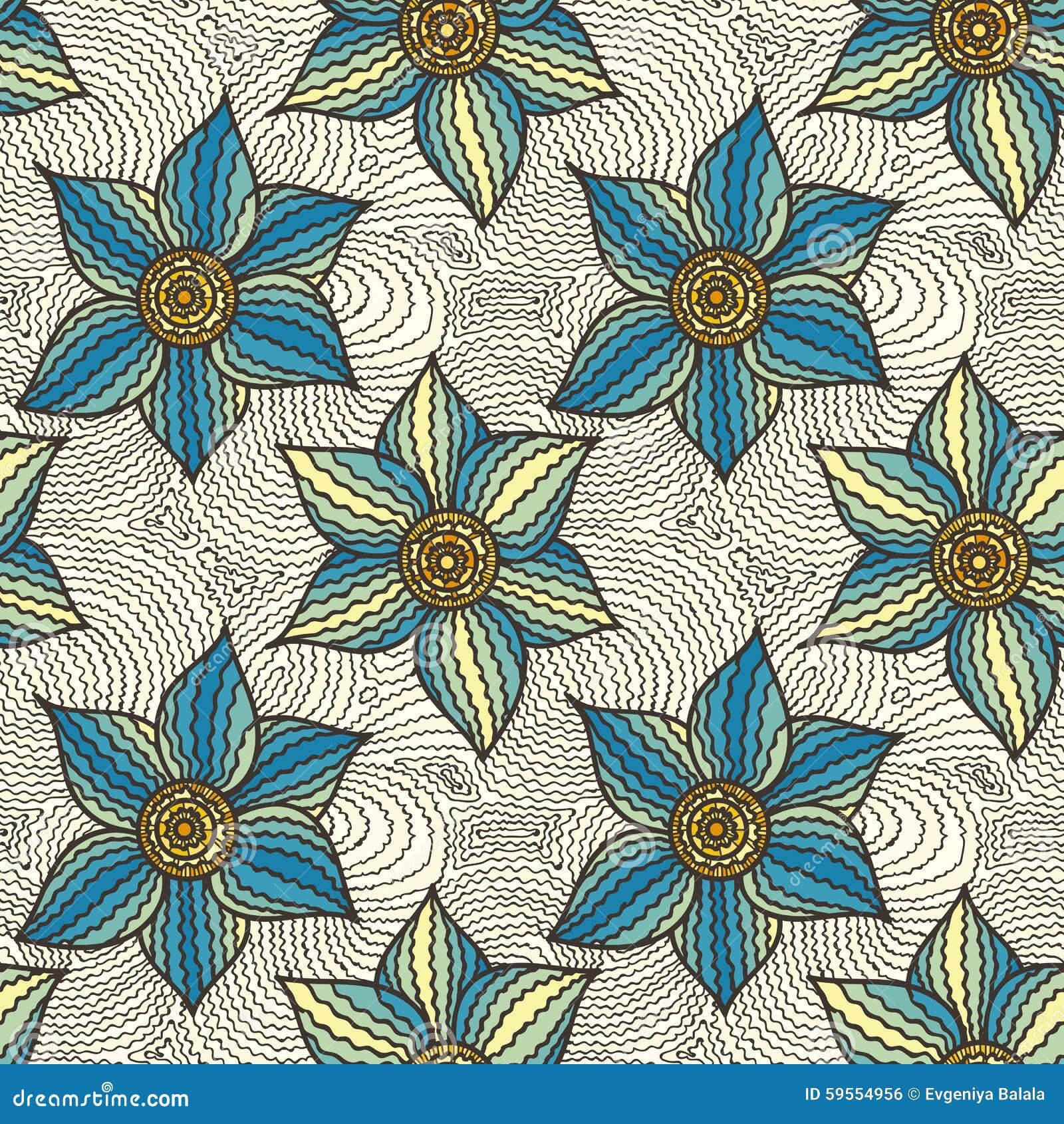 Modello senza cuciture di vettore dei fiori disegnati a for Fiori disegnati