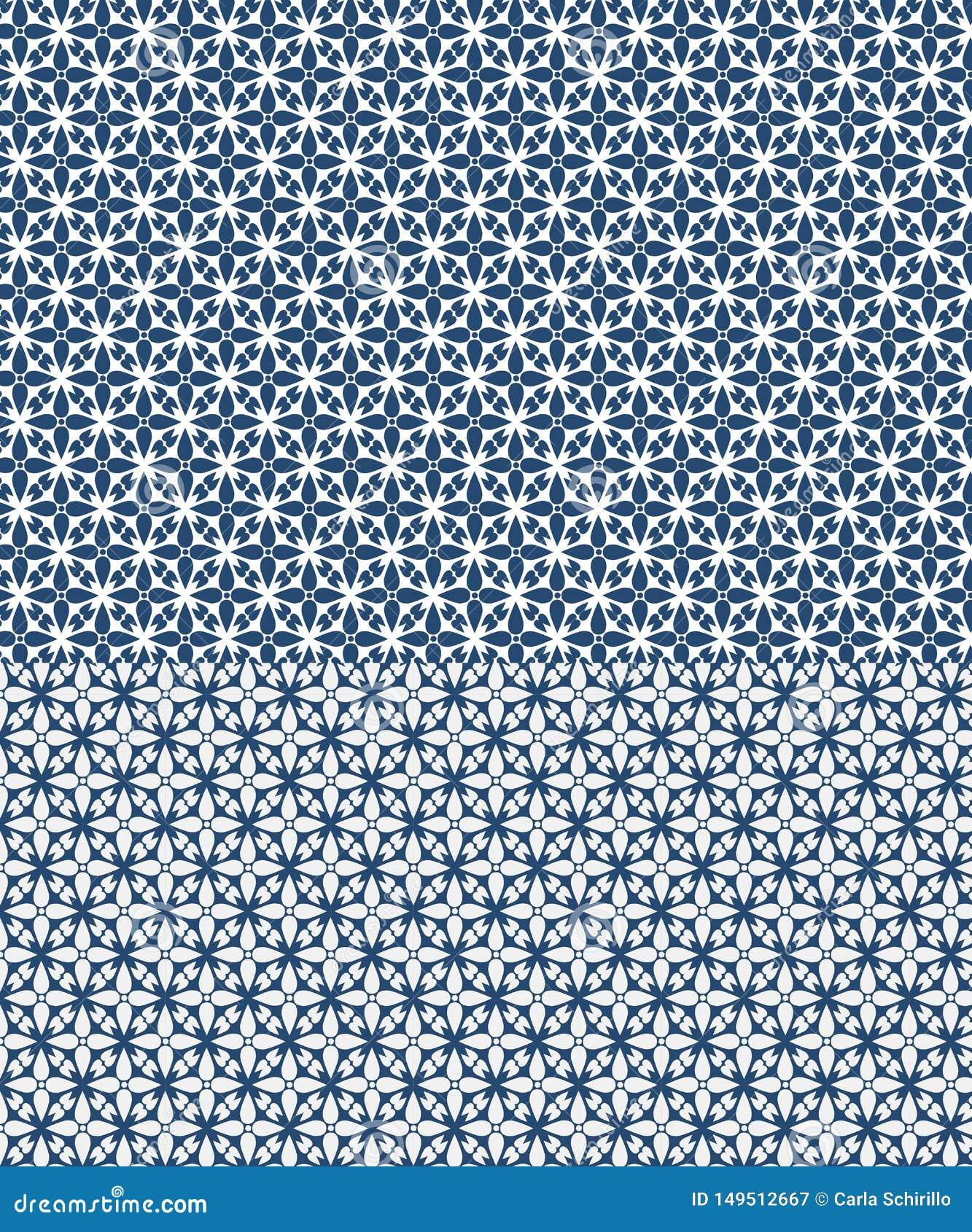 Modello senza cuciture di vettore floreale ispirato dai azulejos