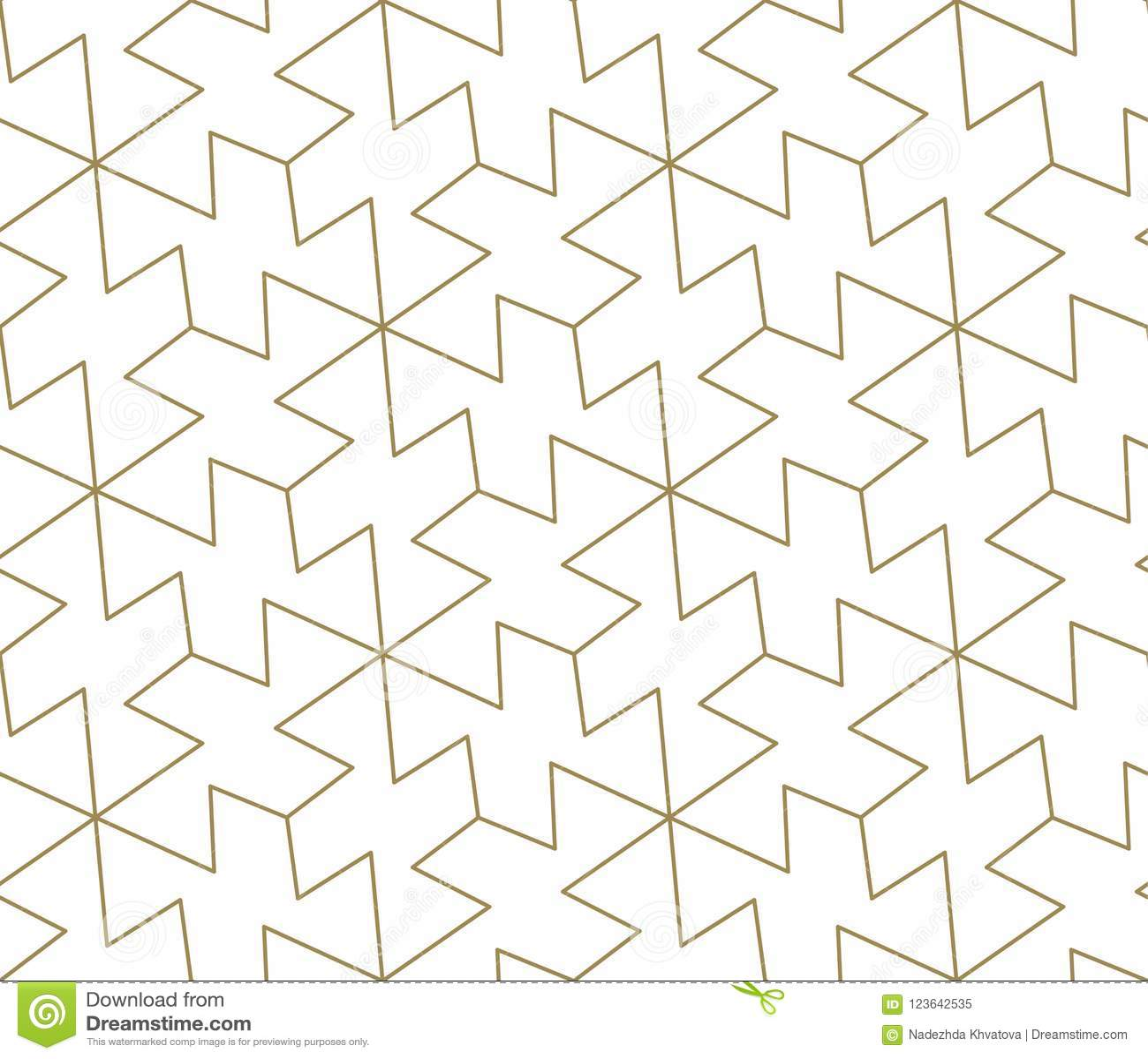 Modello senza cuciture di vettore geometrico semplice moderno con la linea struttura dell oro su fondo bianco Carta da parati ast