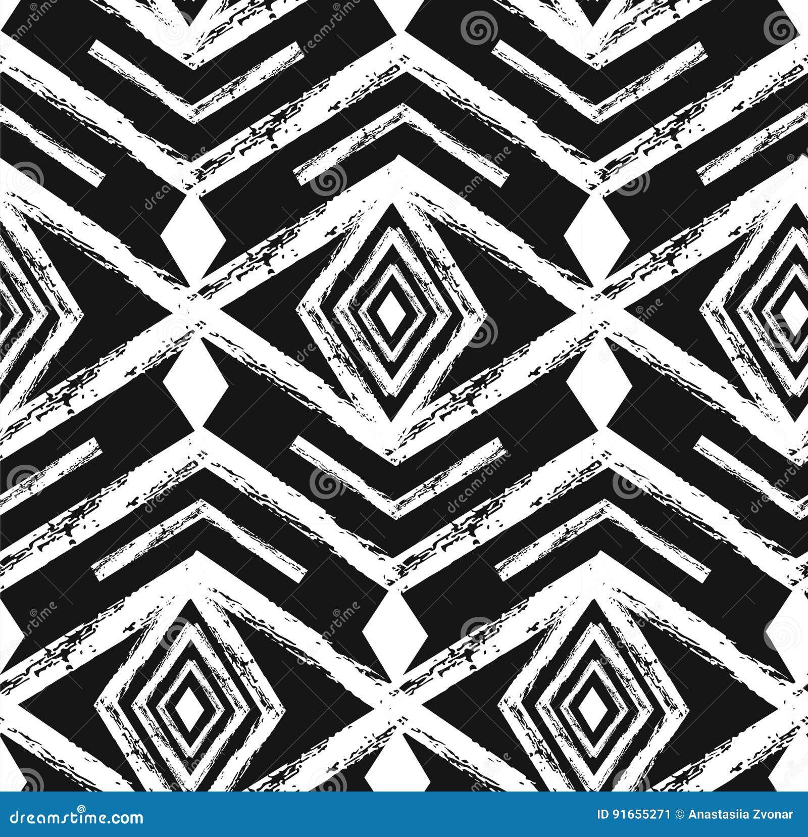 Modello senza cuciture di vettore navajo tribale nero con gli elementi di scarabocchio Stampa geometrica astratta azteca di arte