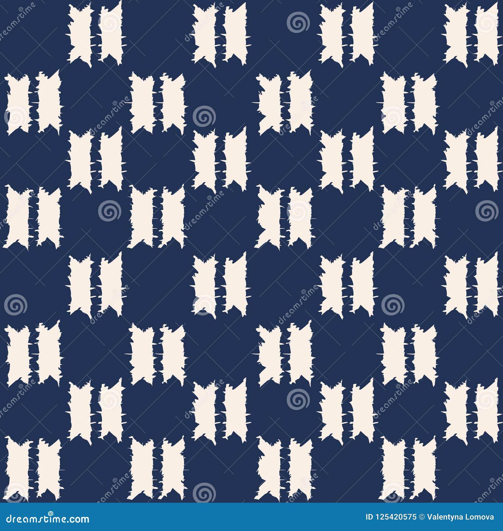 Modello senza cuciture di vettore di shibori astratto dell indaco con la stampa del ikat del mosaico
