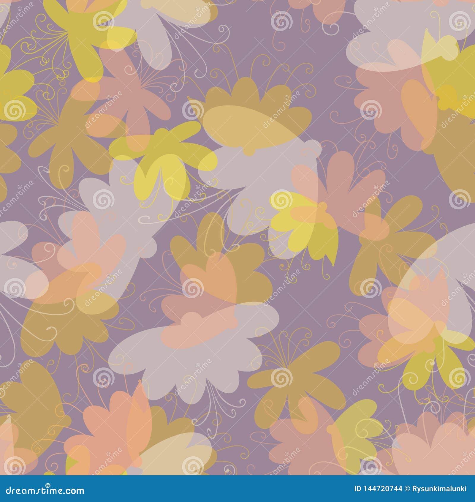 Modello senza cuciture di vettore di sogno del fiore nei colori pastelli