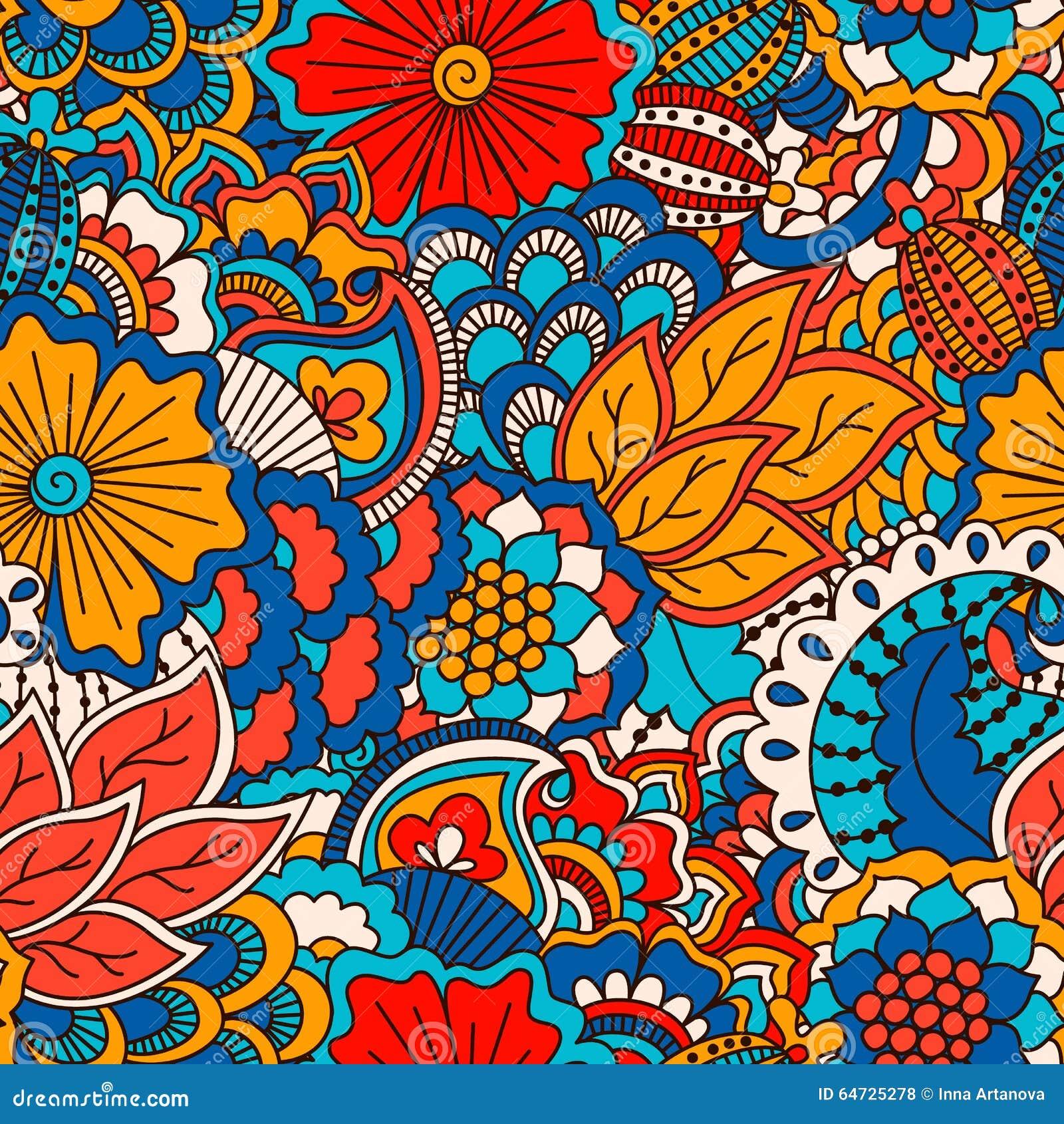 Modello senza cuciture disegnato a mano con gli elementi floreali