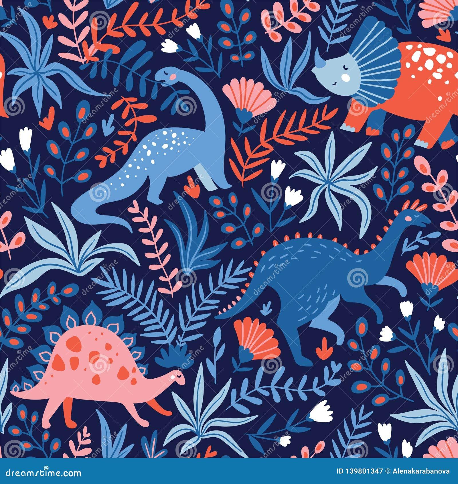 Modello senza cuciture disegnato a mano con i dinosauri e foglie e fiori tropicali Perfezioni per il tessuto dei bambini, il tess