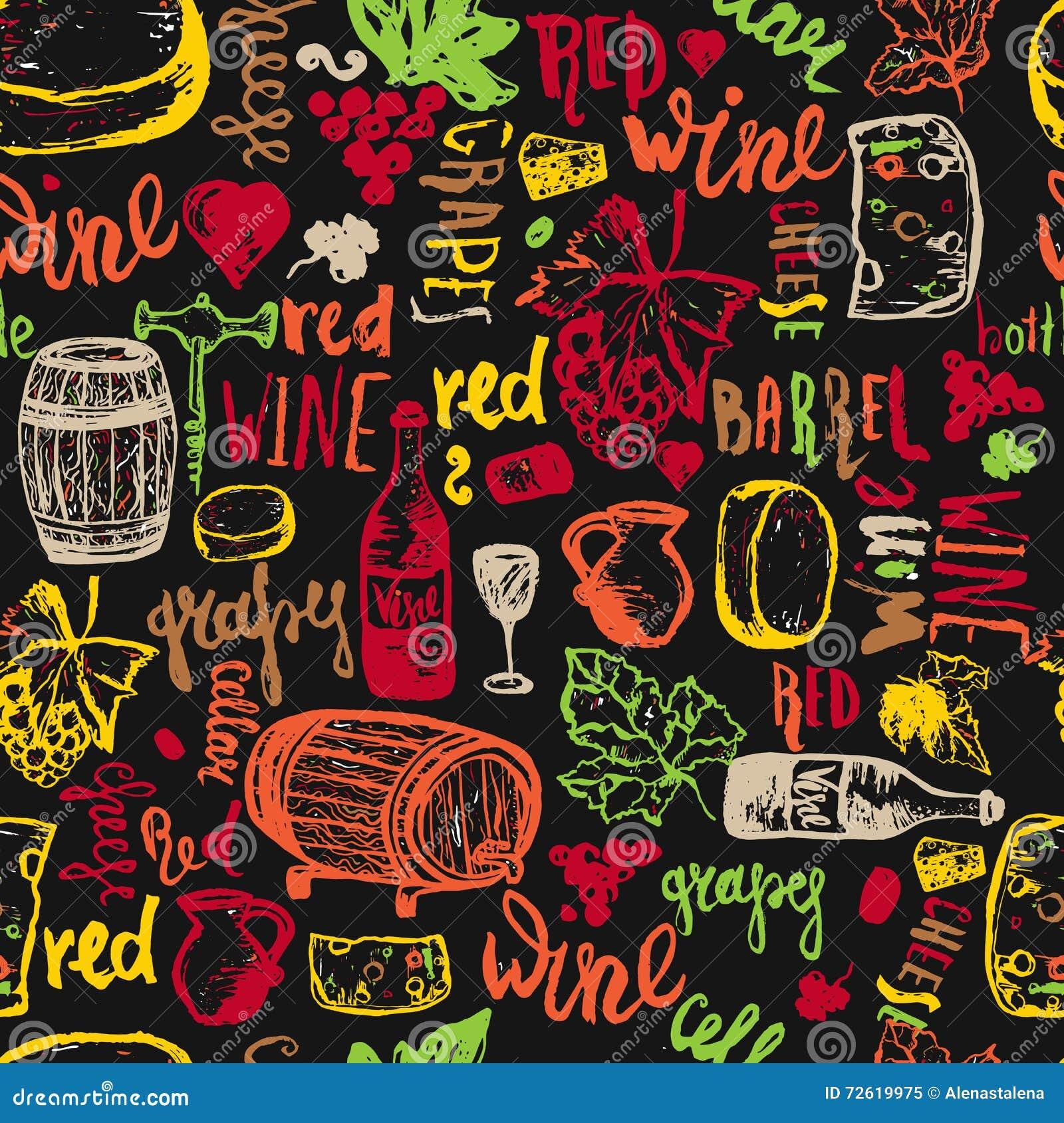 Modello senza cuciture disegnato a mano senza cuciture del vino Illustrazione di vettore Il vino firma - la bottiglia, vetro, uva