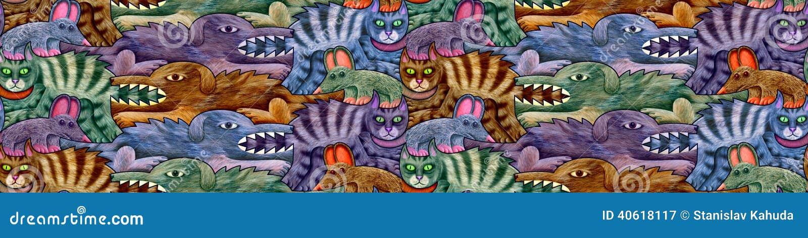 Modello senza cuciture fatto dei cani, dei gatti e dei topi in quattro tonalità