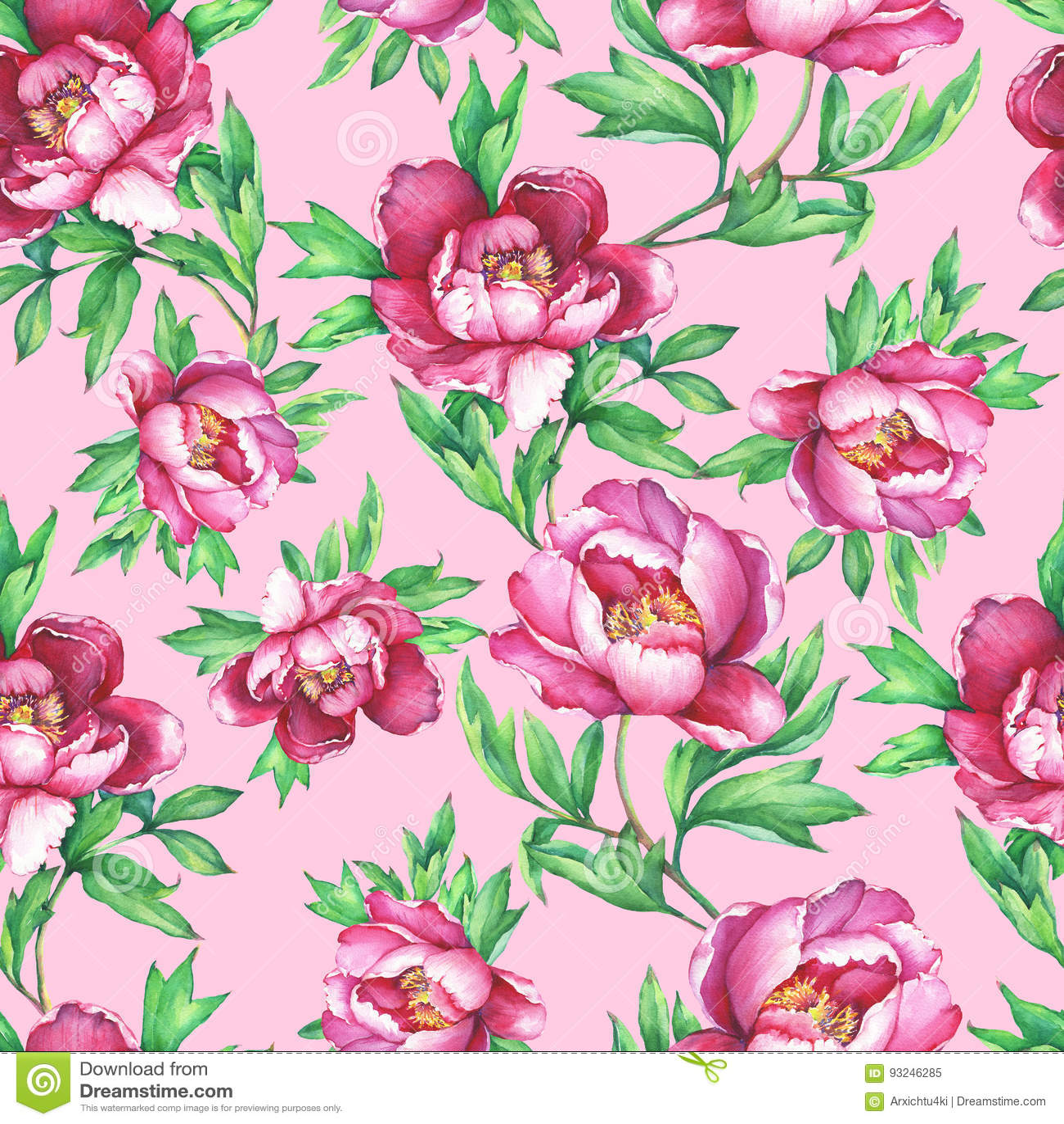 Modello senza cuciture floreale d annata con la fioritura delle peonie rosa, su fondo rosa Illustrat disegnato a mano della pittu