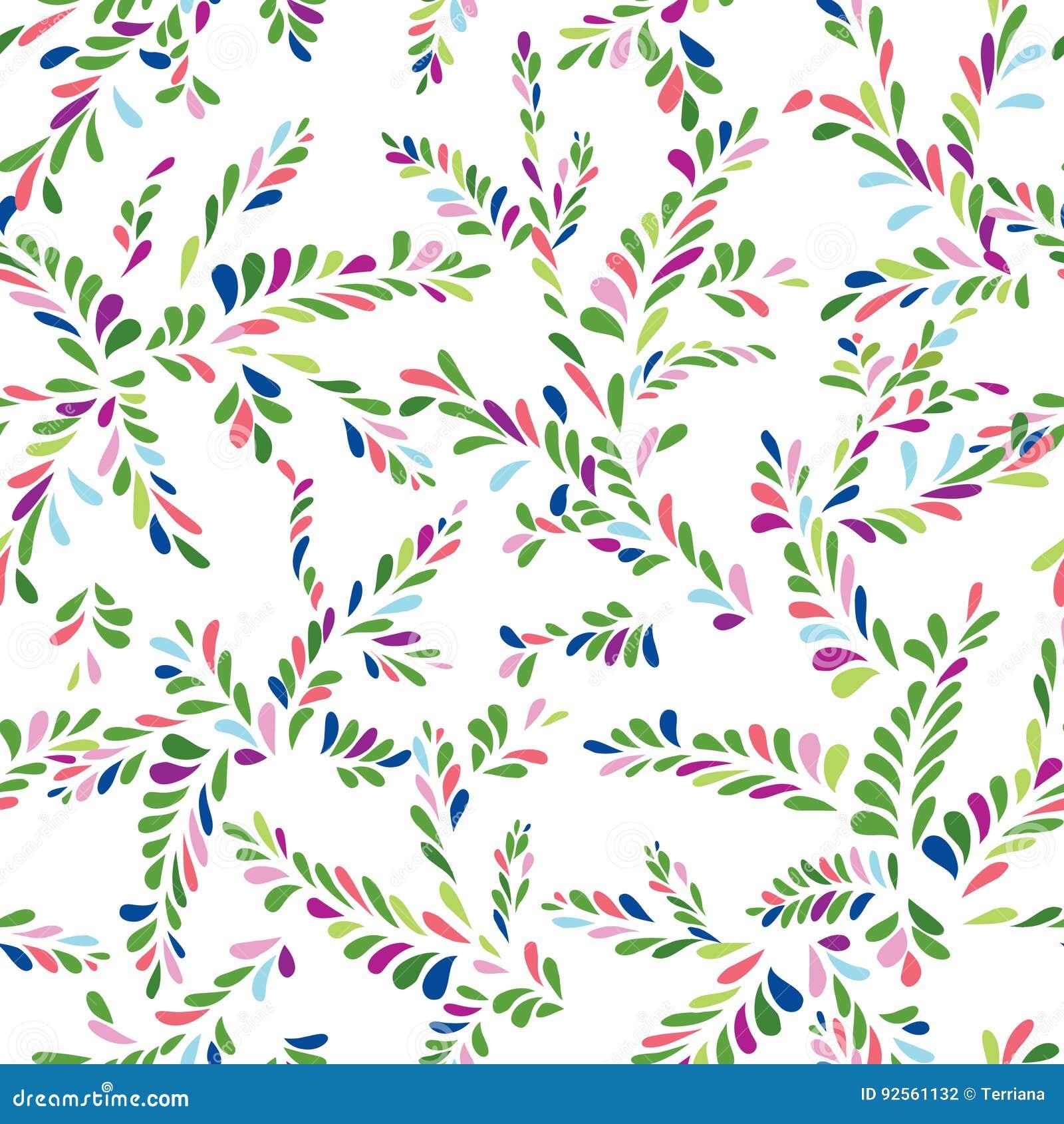 Modello senza cuciture floreale del punto astratto Ramifichi con il orname delle foglie