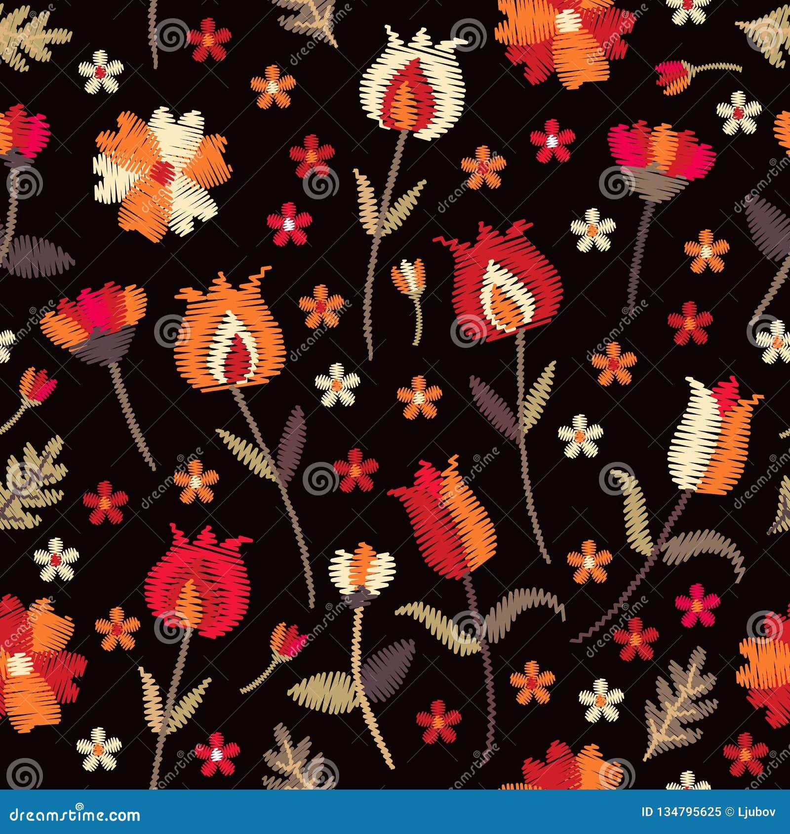 Modello senza cuciture floreale del ricamo con i fiori rossi ed arancio su fondo nero Motivi pieghi Progettazione di modo