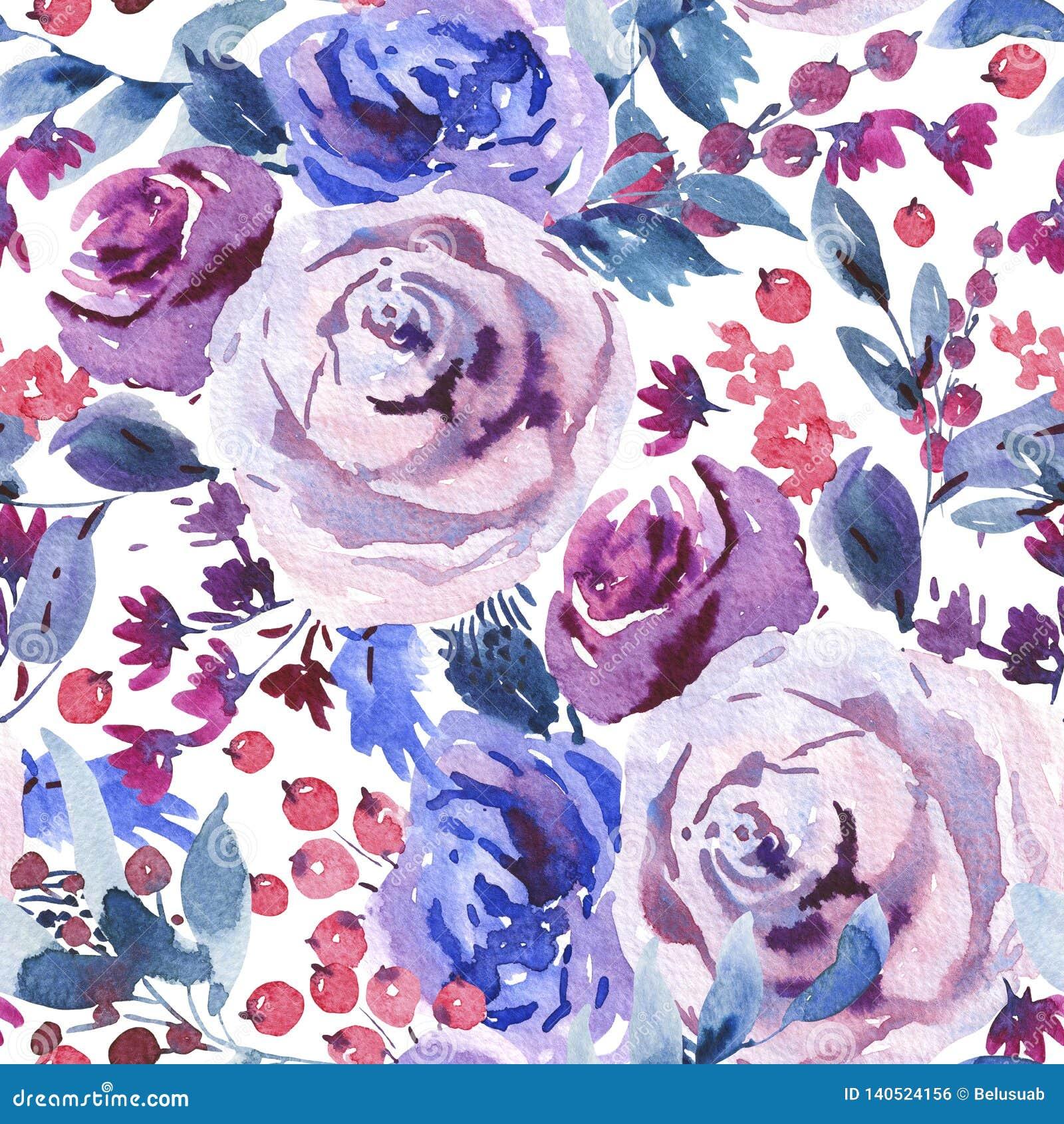 Modello senza cuciture floreale dell acquerello dell estratto, Violet Watercolor Roses, fiori, ramoscelli, foglie, bacche, germog