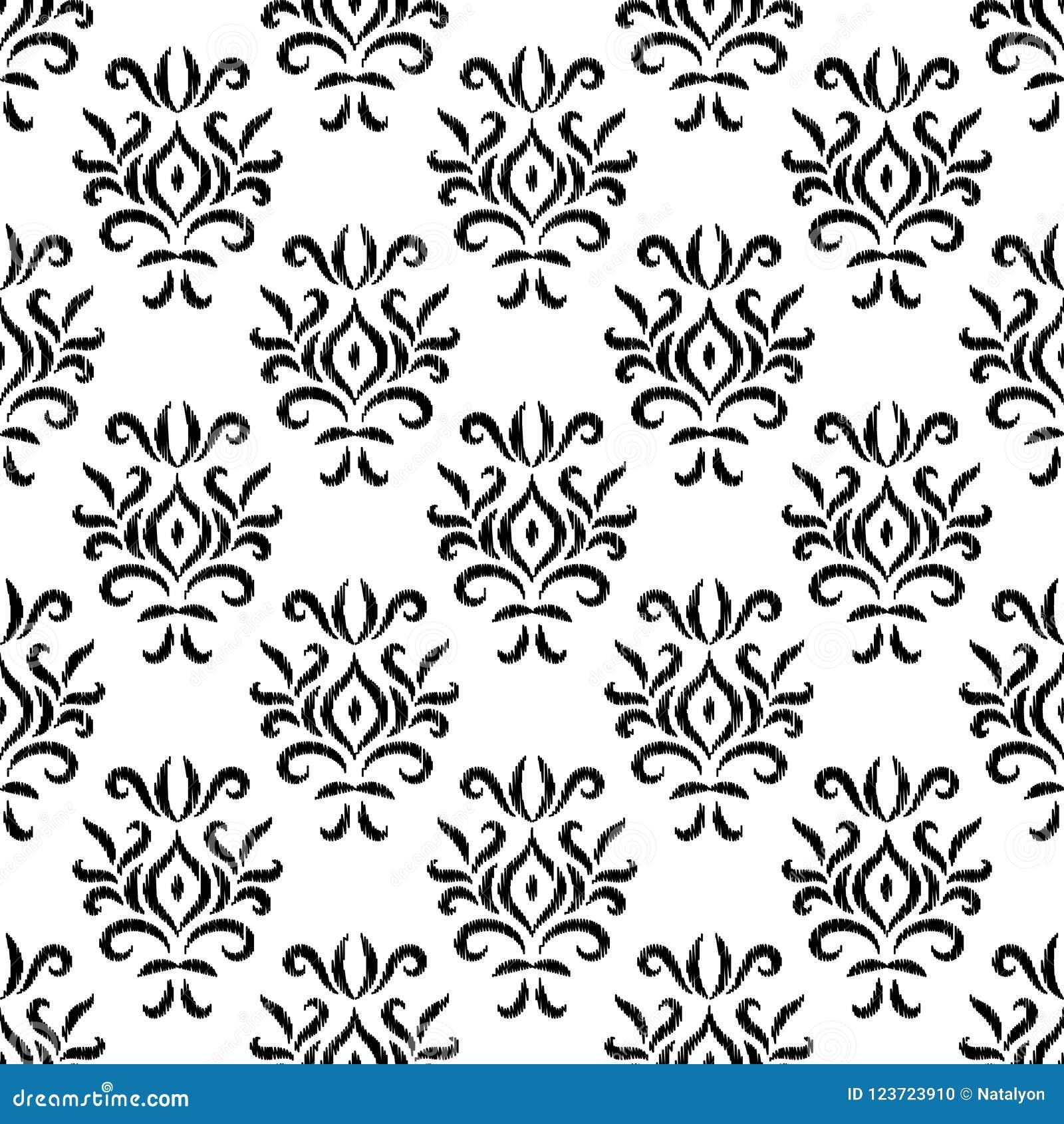 Modello senza cuciture floreale geometrico del damasco dell ornamento in bianco e nero del ikat, vettore