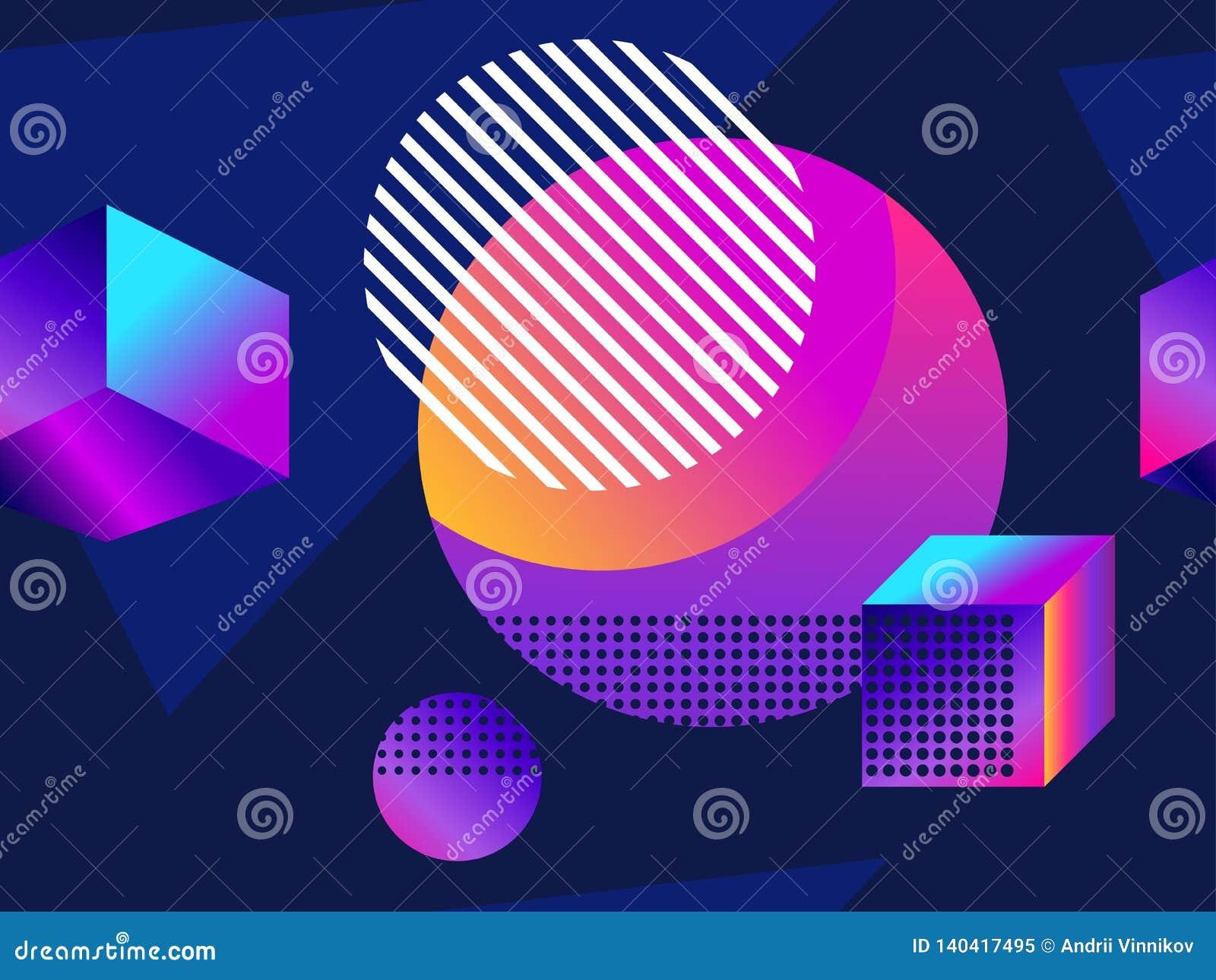 Modello senza cuciture futuristico con le forme geometriche Pendenza con i toni porpora forma isometrica 3d Retro fondo di Synthw