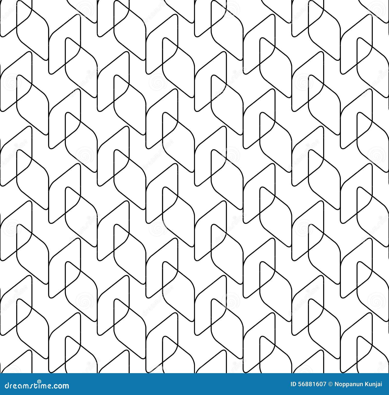 Modello senza cuciture geometrico in bianco e nero con il diametro dell angolo rotondo