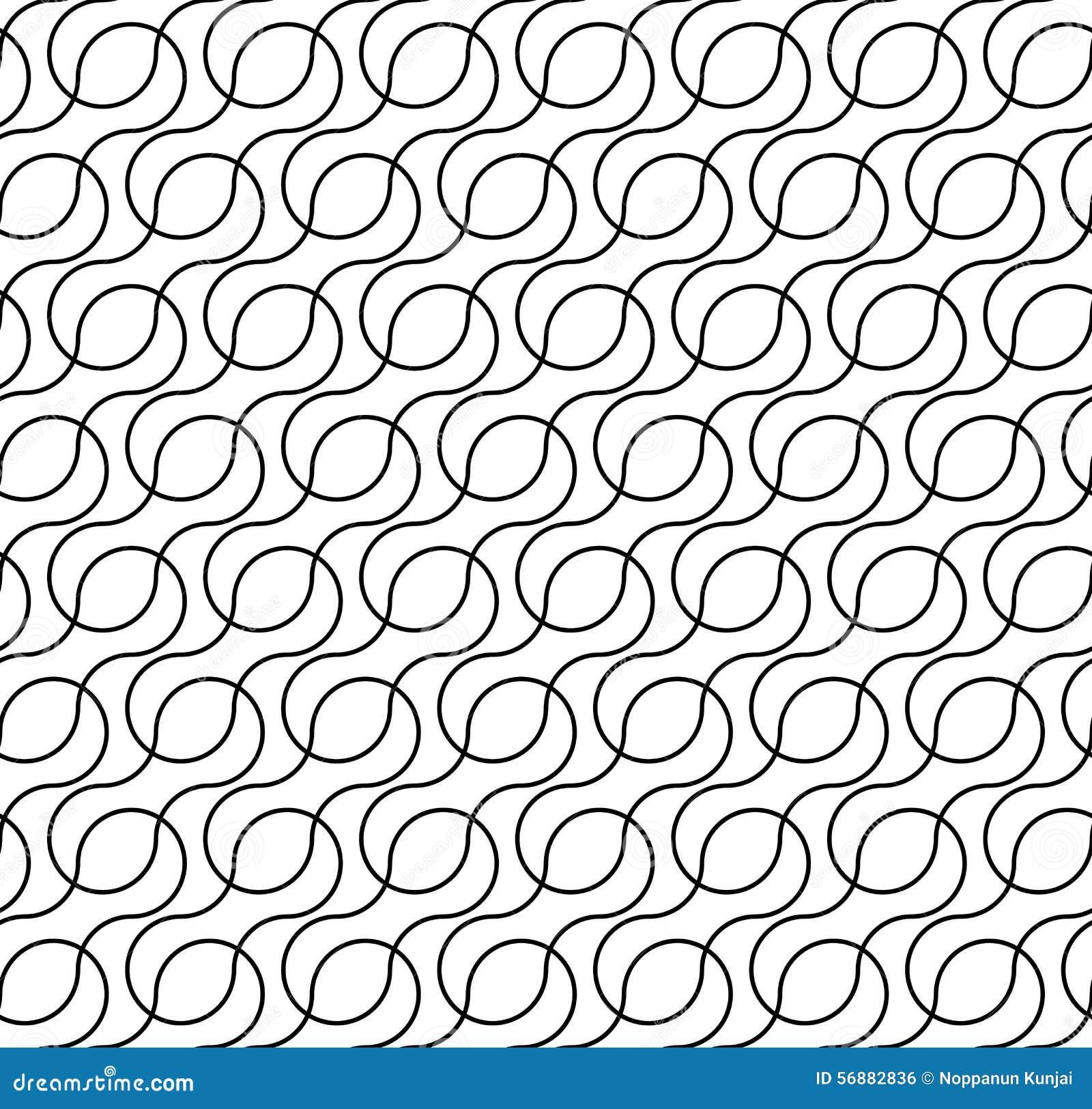 Modello senza cuciture geometrico in bianco e nero con la linea dell onda, sommario