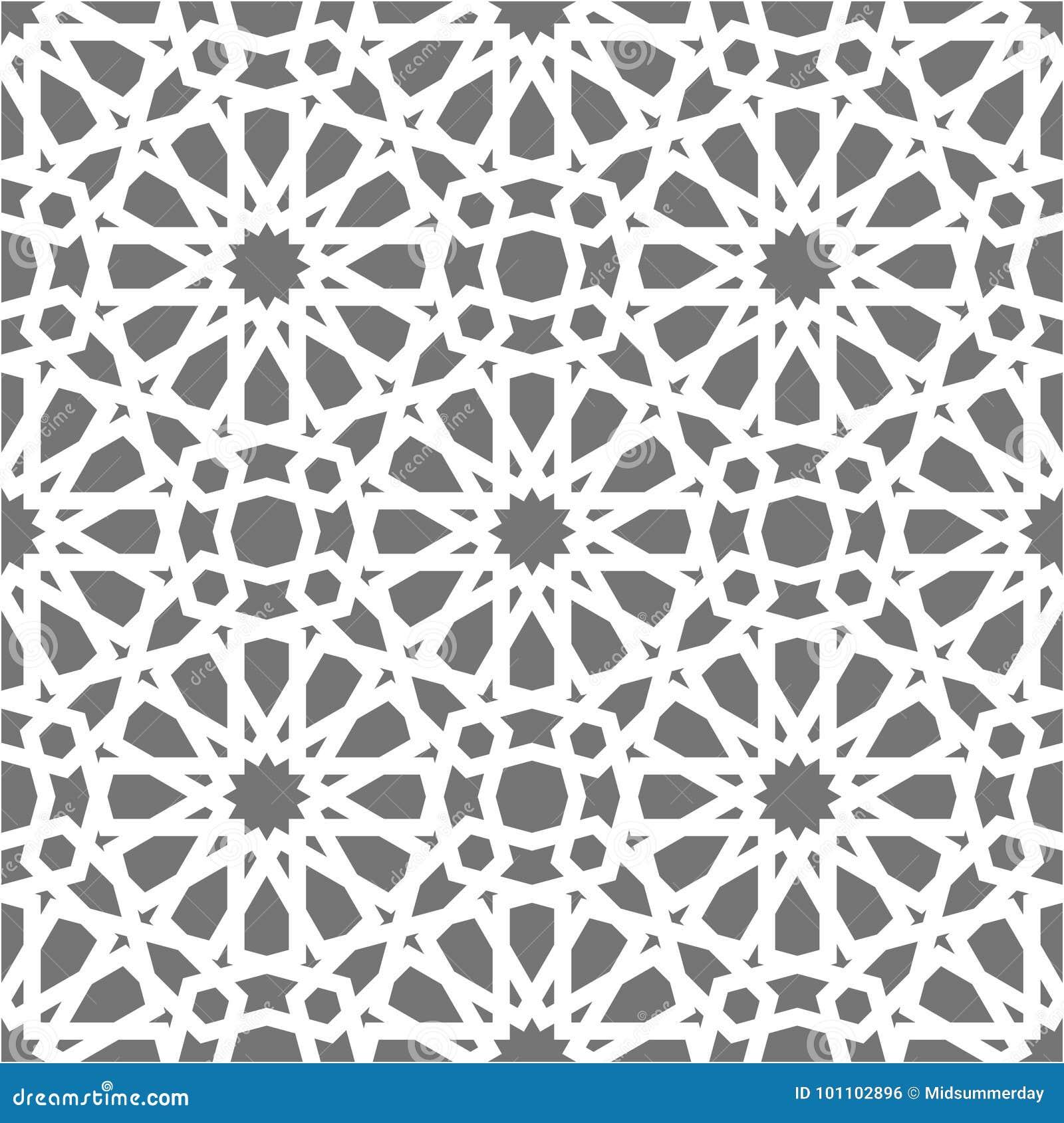 Modello senza cuciture islamico di vettore Ornamenti geometrici bianchi basati su arte araba tradizionale Mosaico musulmano orien