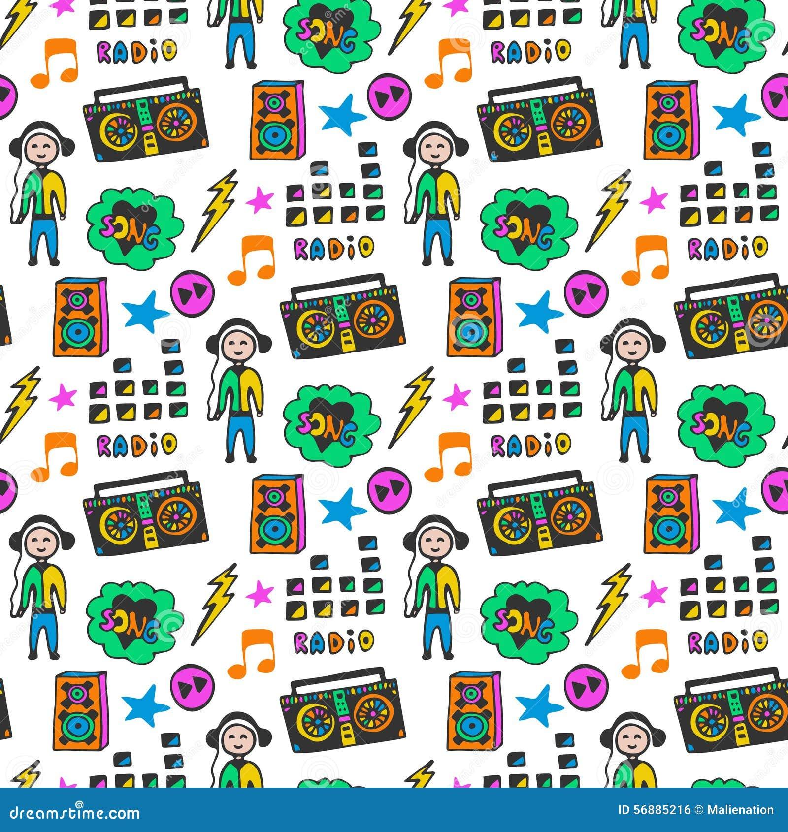 Modello senza cuciture musicale variopinto Colori di divertimento Fondo di musica di scarabocchio