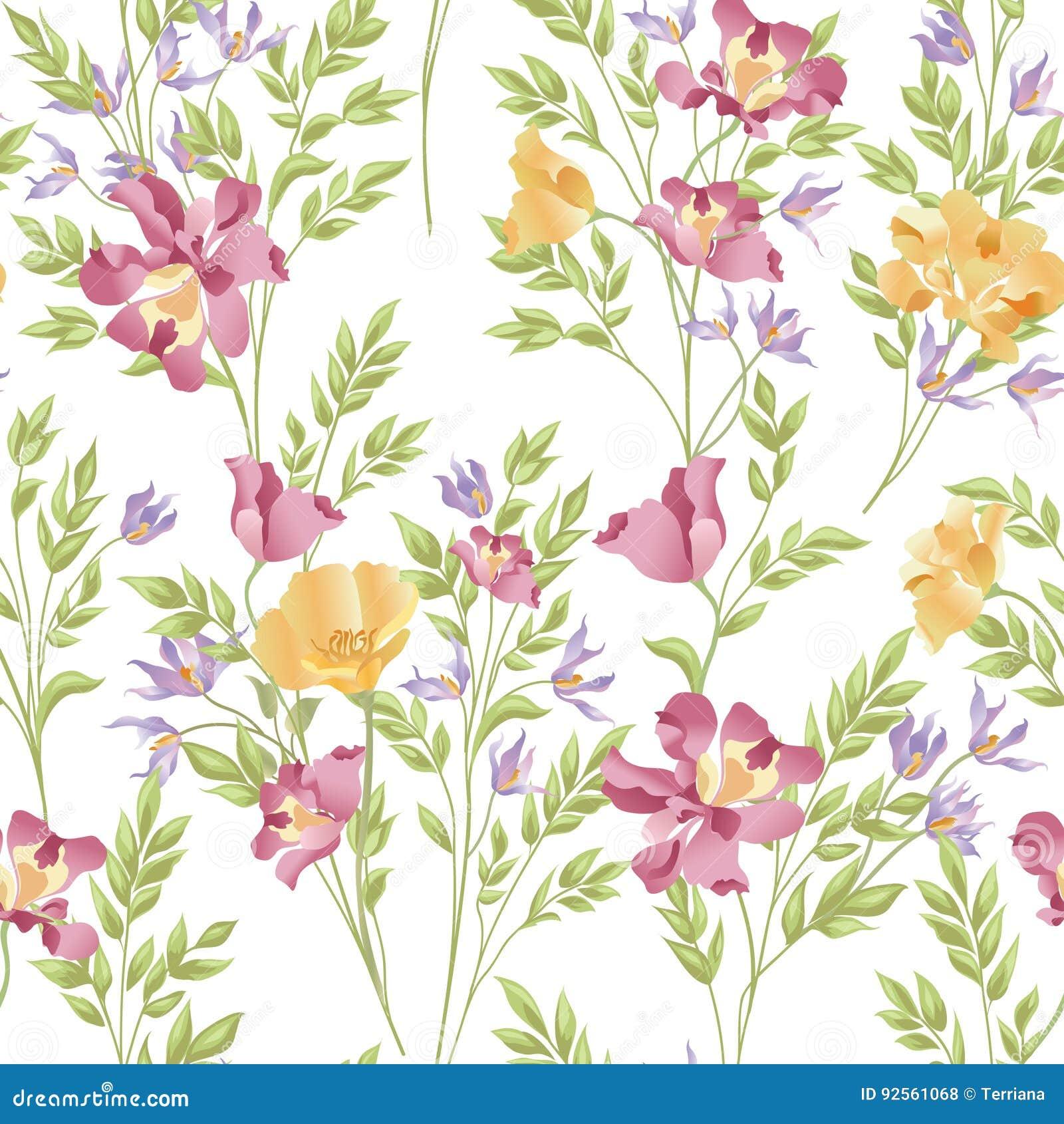 Modello senza cuciture ornamentale floreale Parte posteriore astratta del mazzo del fiore