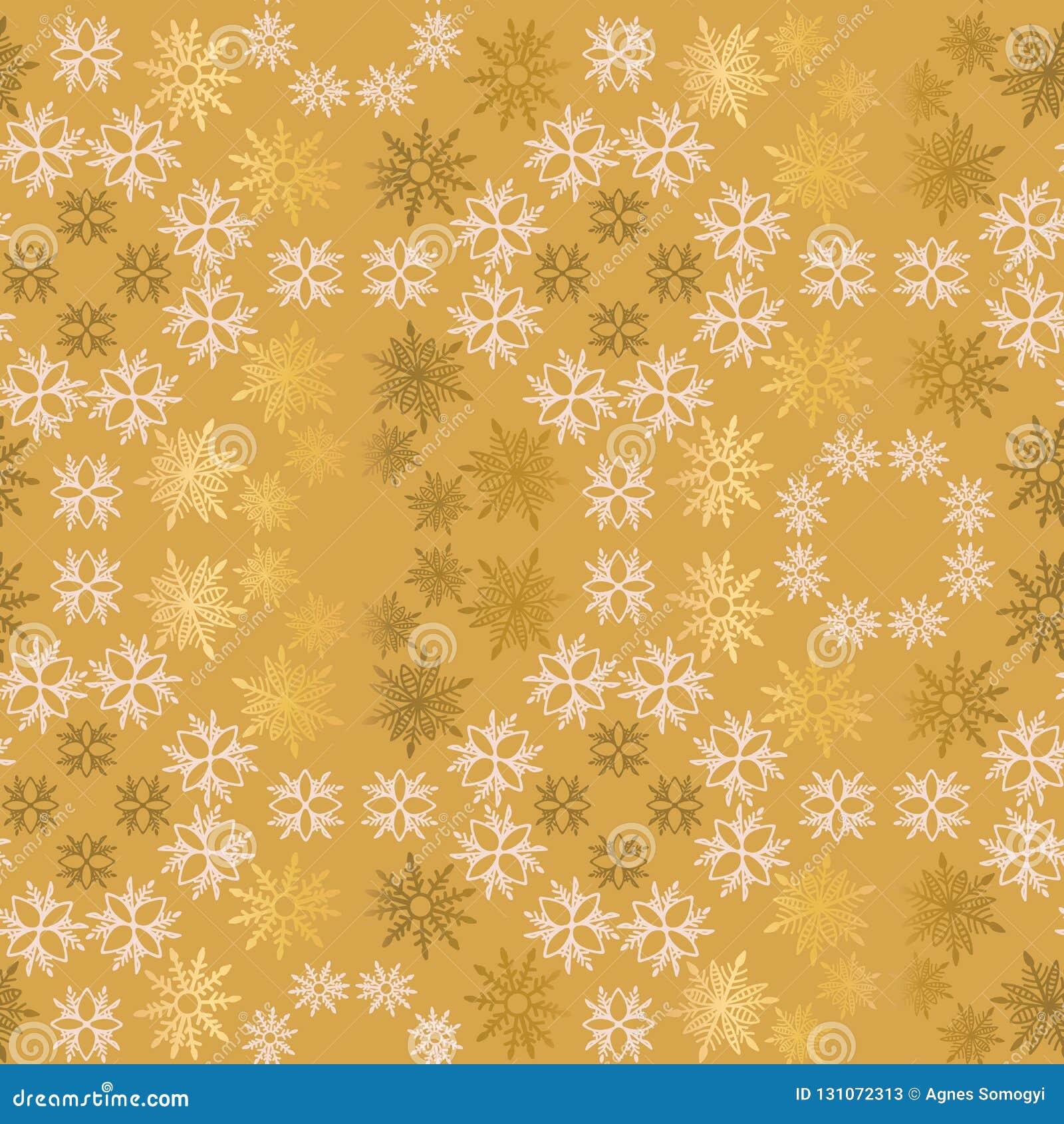 Modello senza cuciture ornamentale semplice di vettore del fiocco di neve dorato e rosa-chiaro Carta da parati astratta, avvolgen