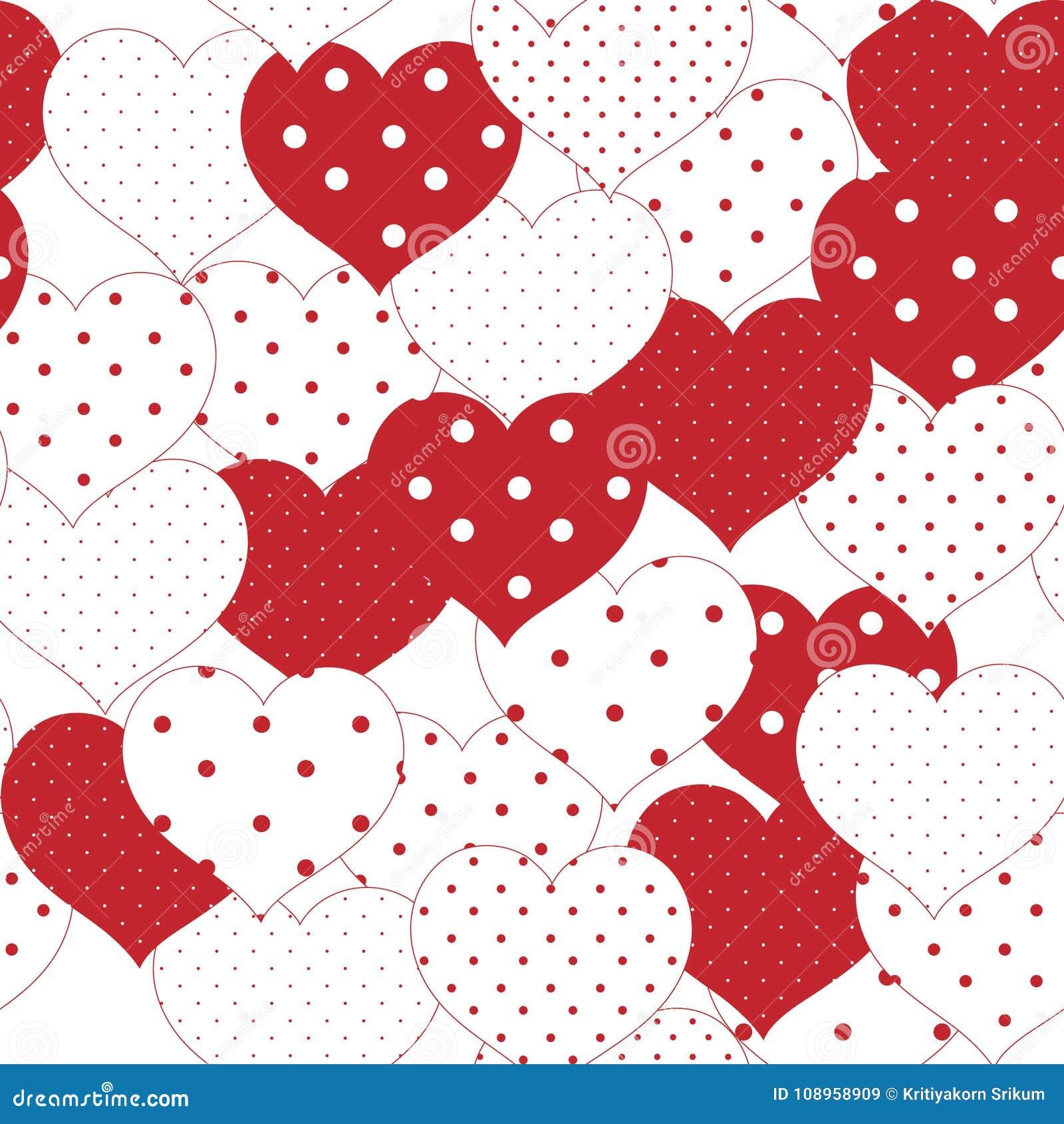 Modello Senza Cuciture Romantico Rosso E Bianco Con Il Cuore Del