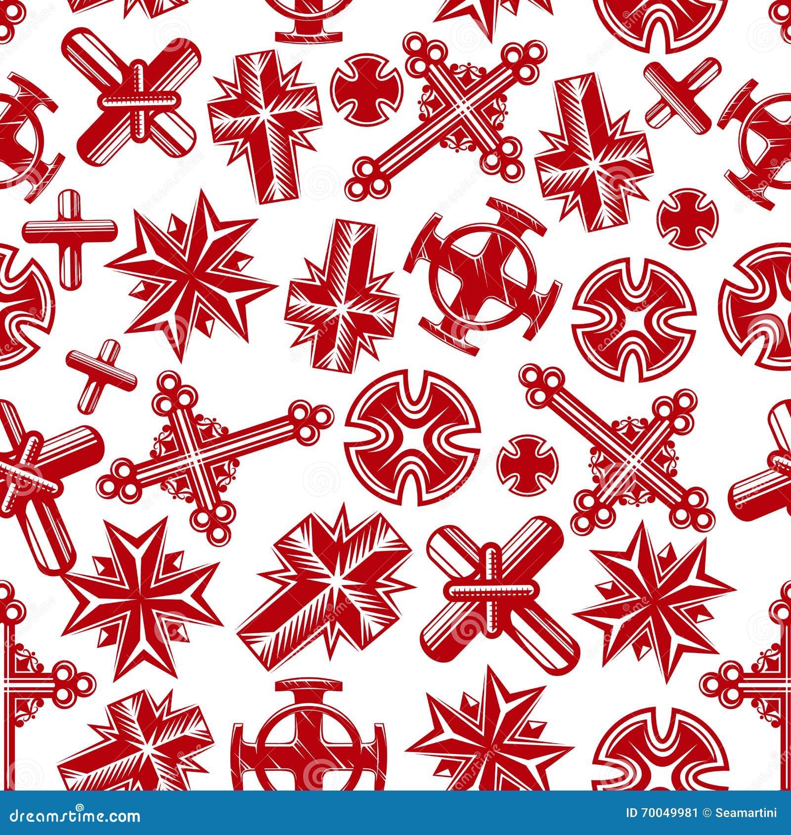 Modello senza cuciture rosso delle croci cristiane antiche