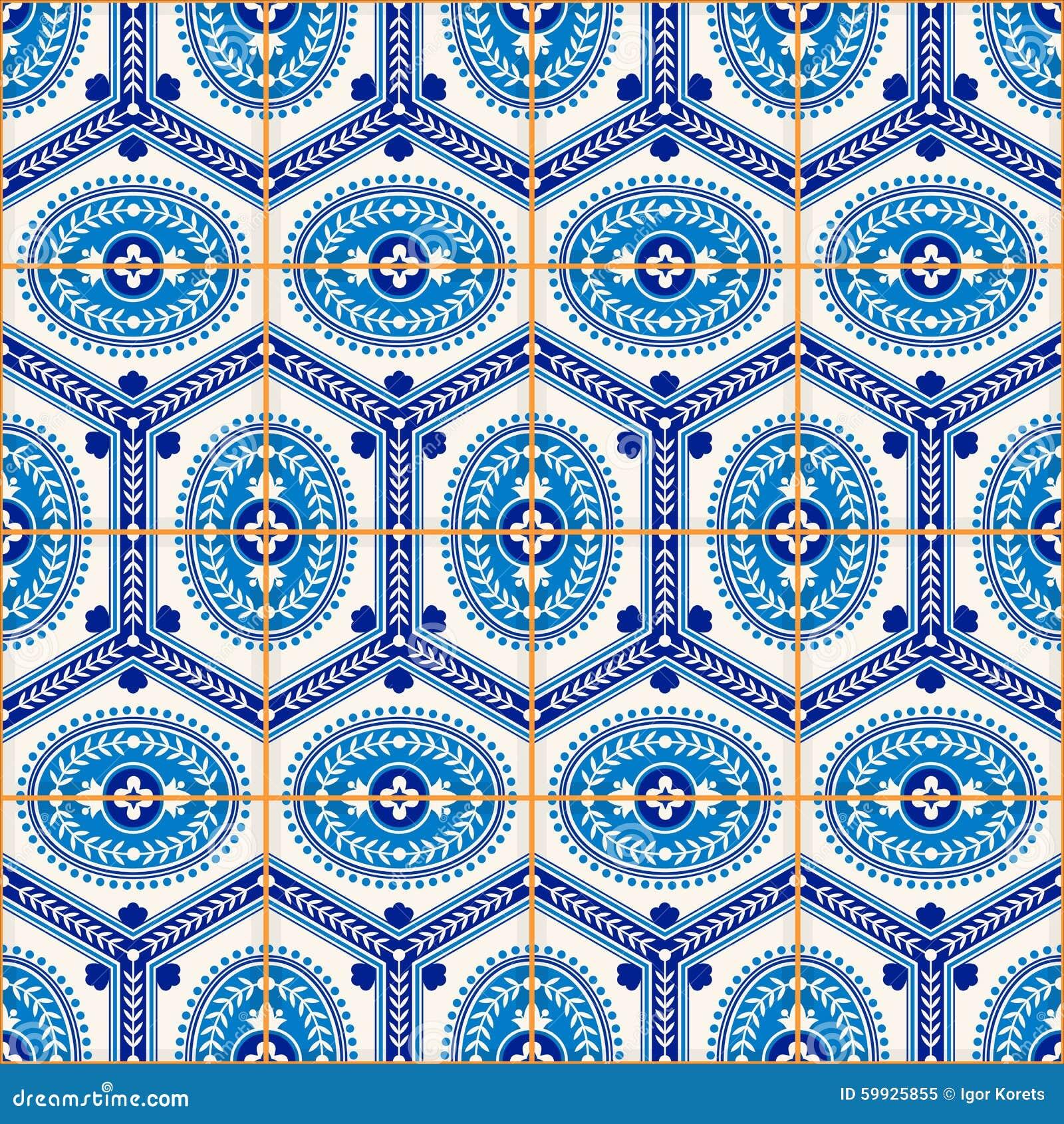 Modello senza cuciture splendido dalle mattonelle marocchine e portoghesi blu scuro e bianche, Azulejo, ornamenti