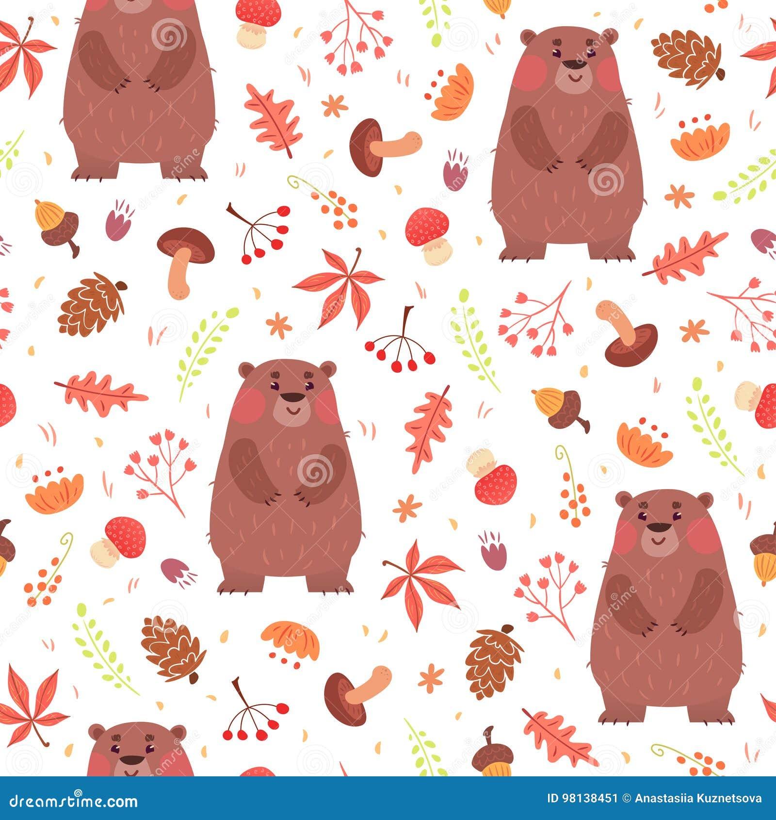 Modello senza cuciture sveglio con gli orsi in foresta