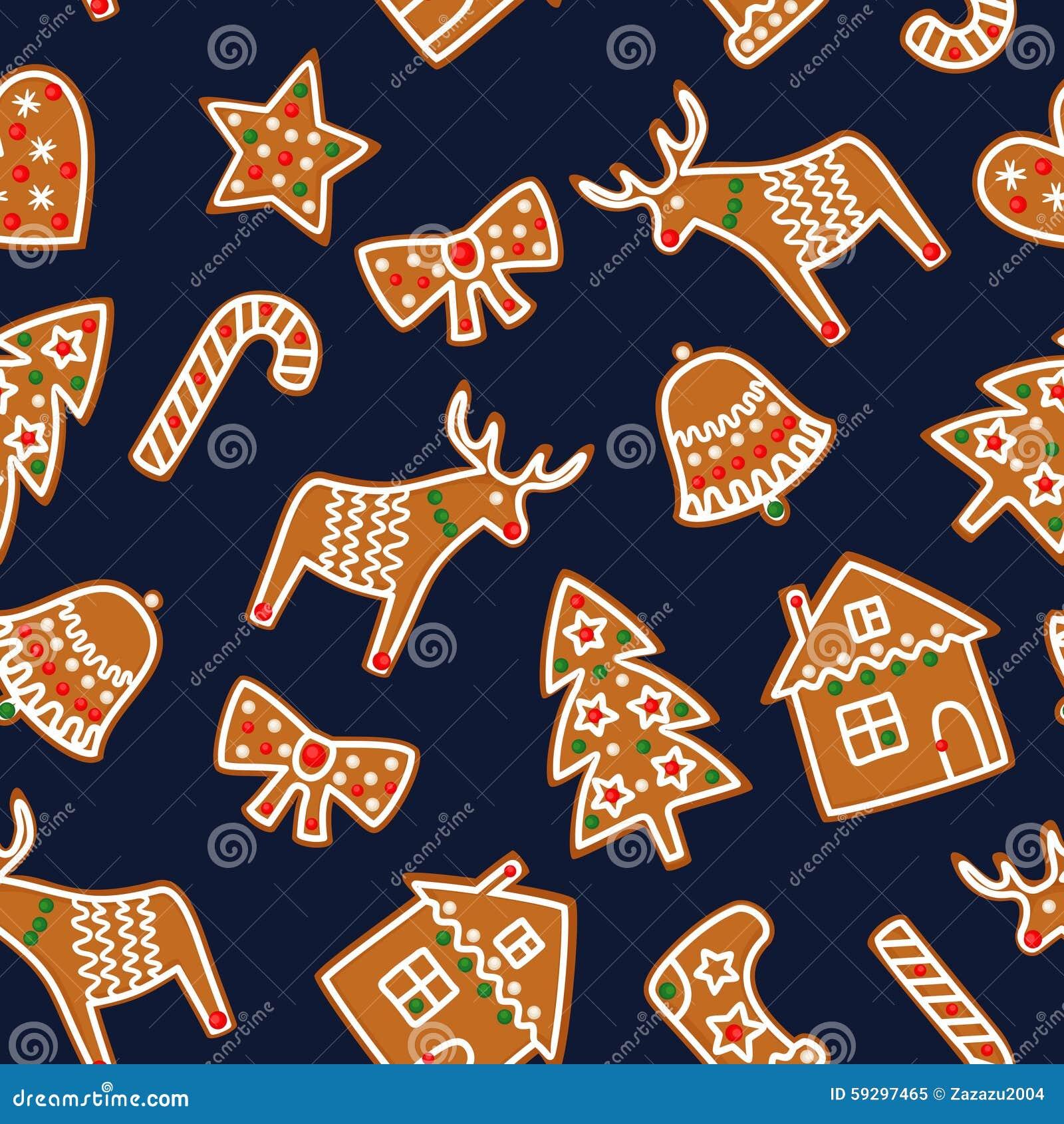 Modello senza cuciture sveglio con i biscotti del pan di zenzero di Natale - albero di natale, bastoncino di zucchero, campana, c