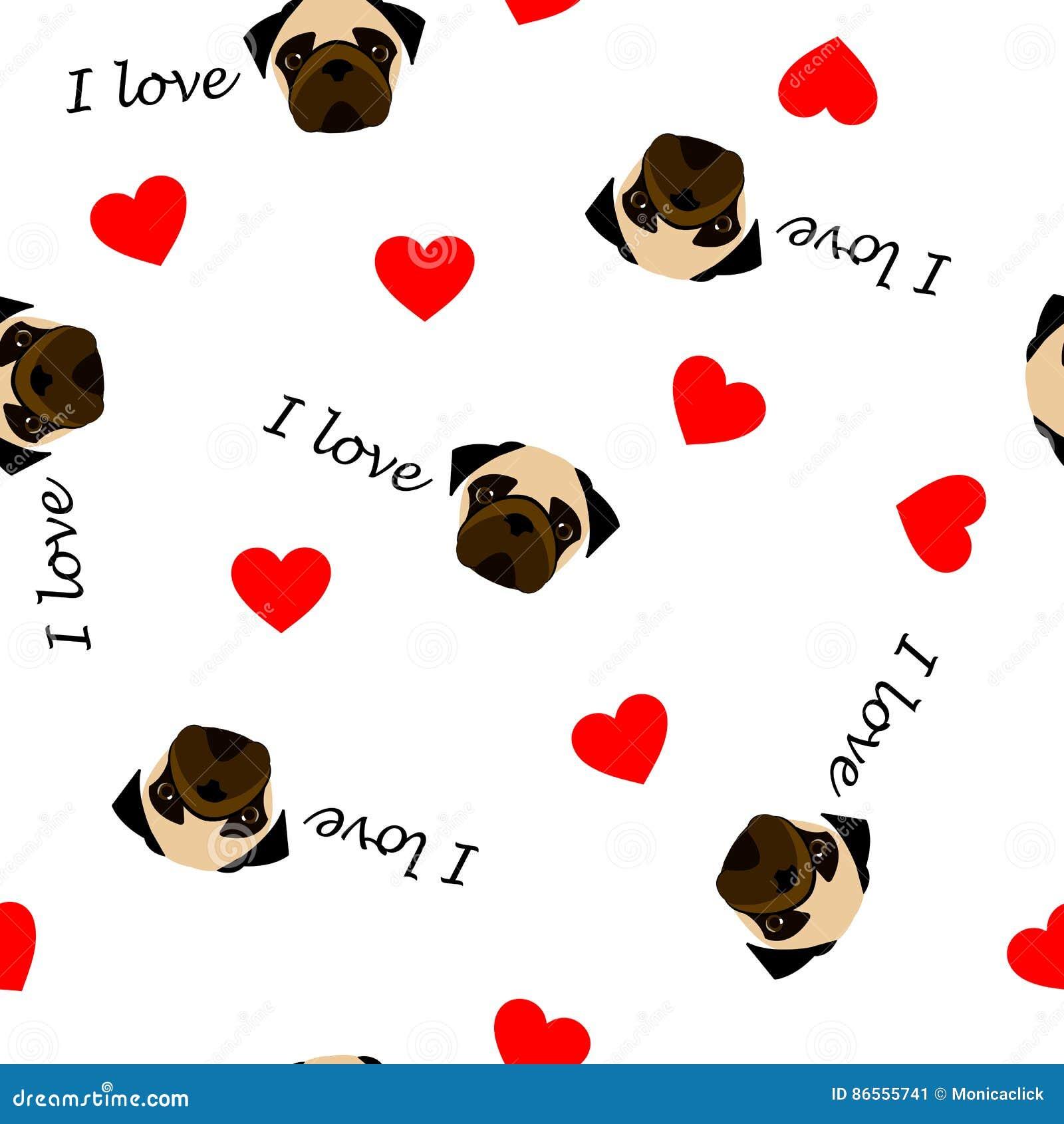 Modello senza cuciture sveglio con il cane del carlino, l amore del testo I ed il cuore rosso, fondo trasparente