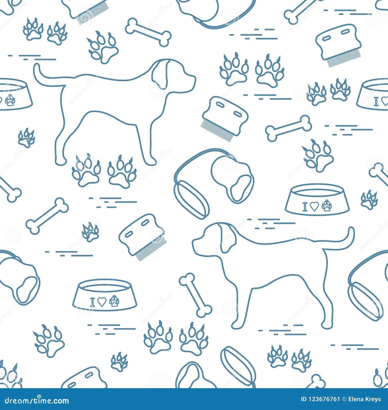 Modello senza cuciture sveglio con la siluetta del cane, ciotola, tracce, osso, b