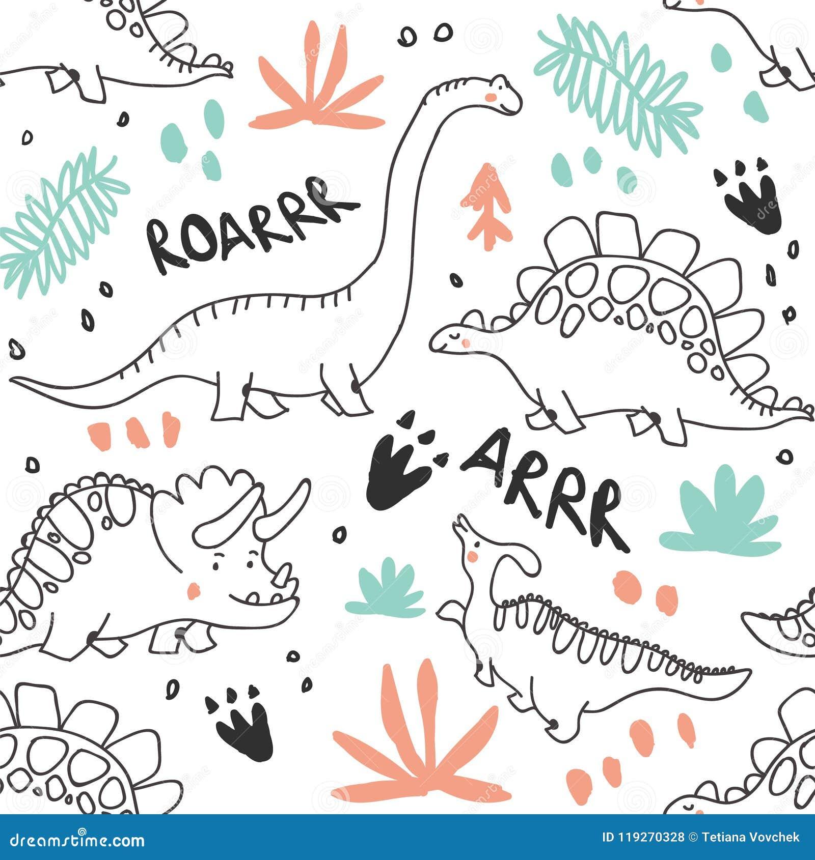 Modello senza cuciture sveglio delle piante di tropico e dei dinosauri