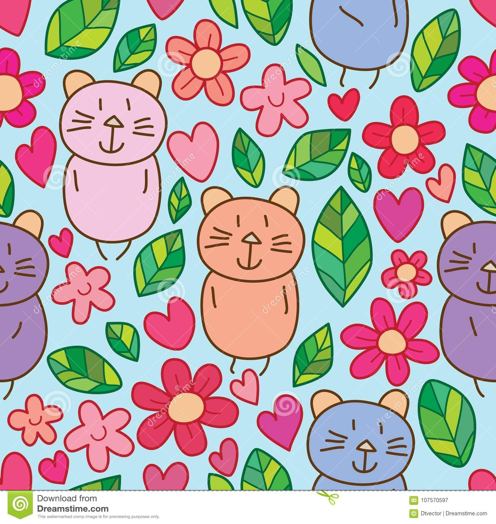 Modello senza cuciture sveglio di piccolo amore della foglia del fiore del gatto