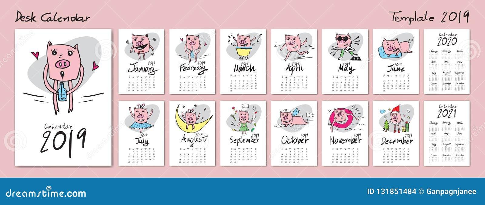2020 Calendario Cinese.Modello Sveglio 2019 Calendario 2020 2021 Calendario Da