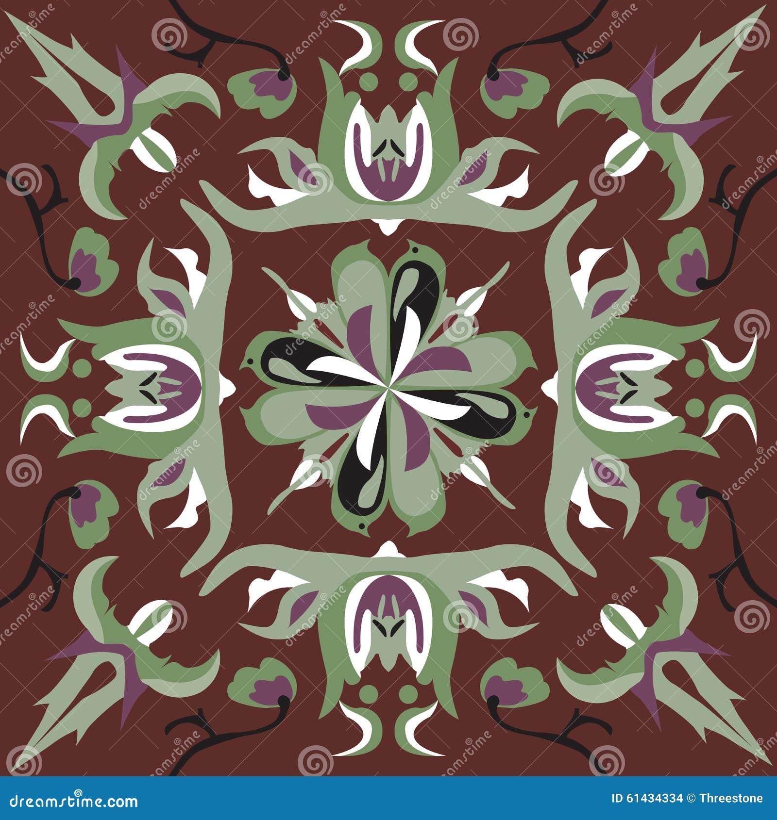 Modello tradizionale cinese orientale del quadrato del - Modello di base del fiore ...