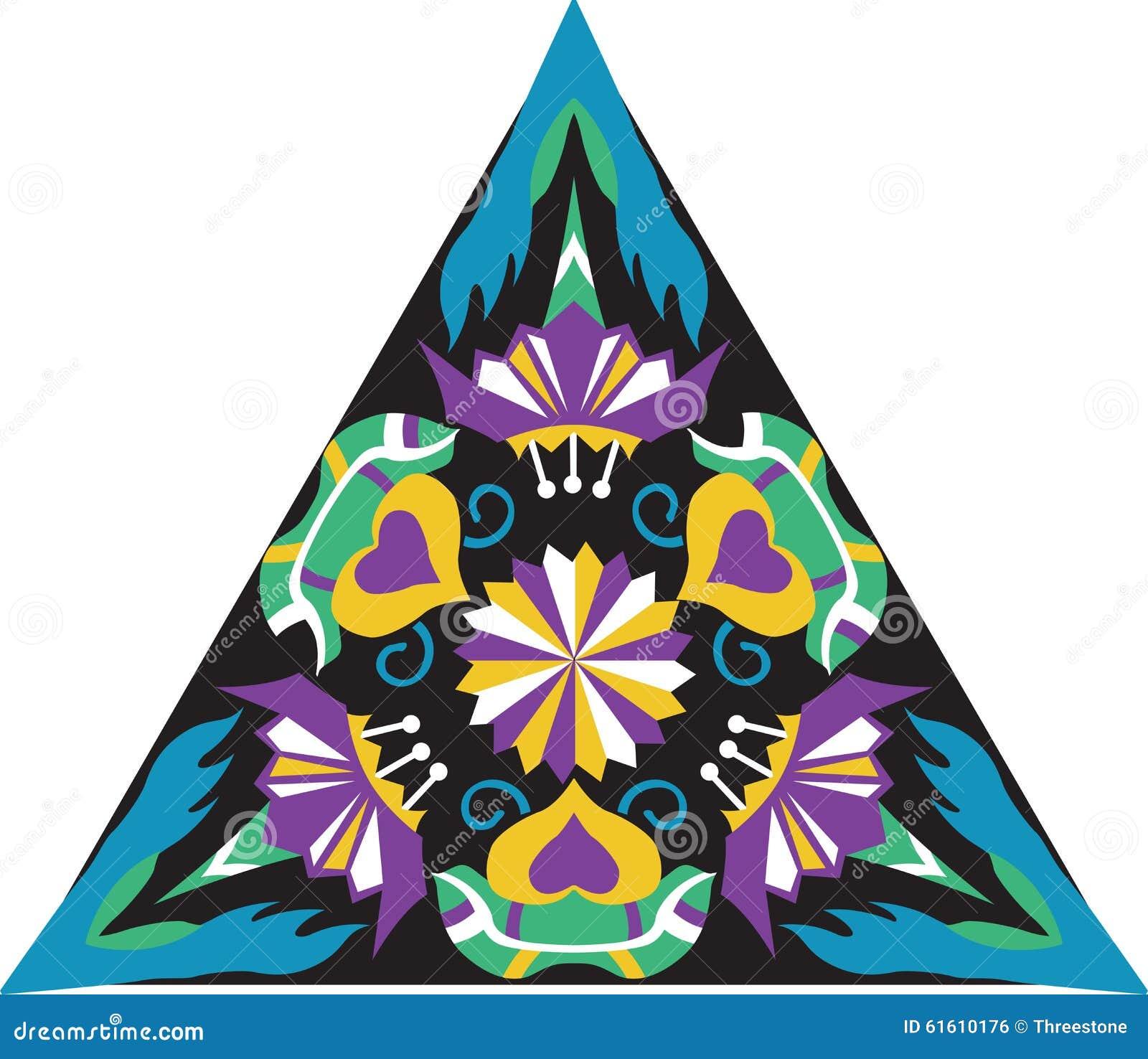 Modello triangolare del fiore tradizionale orientale di - Modello di base del fiore ...