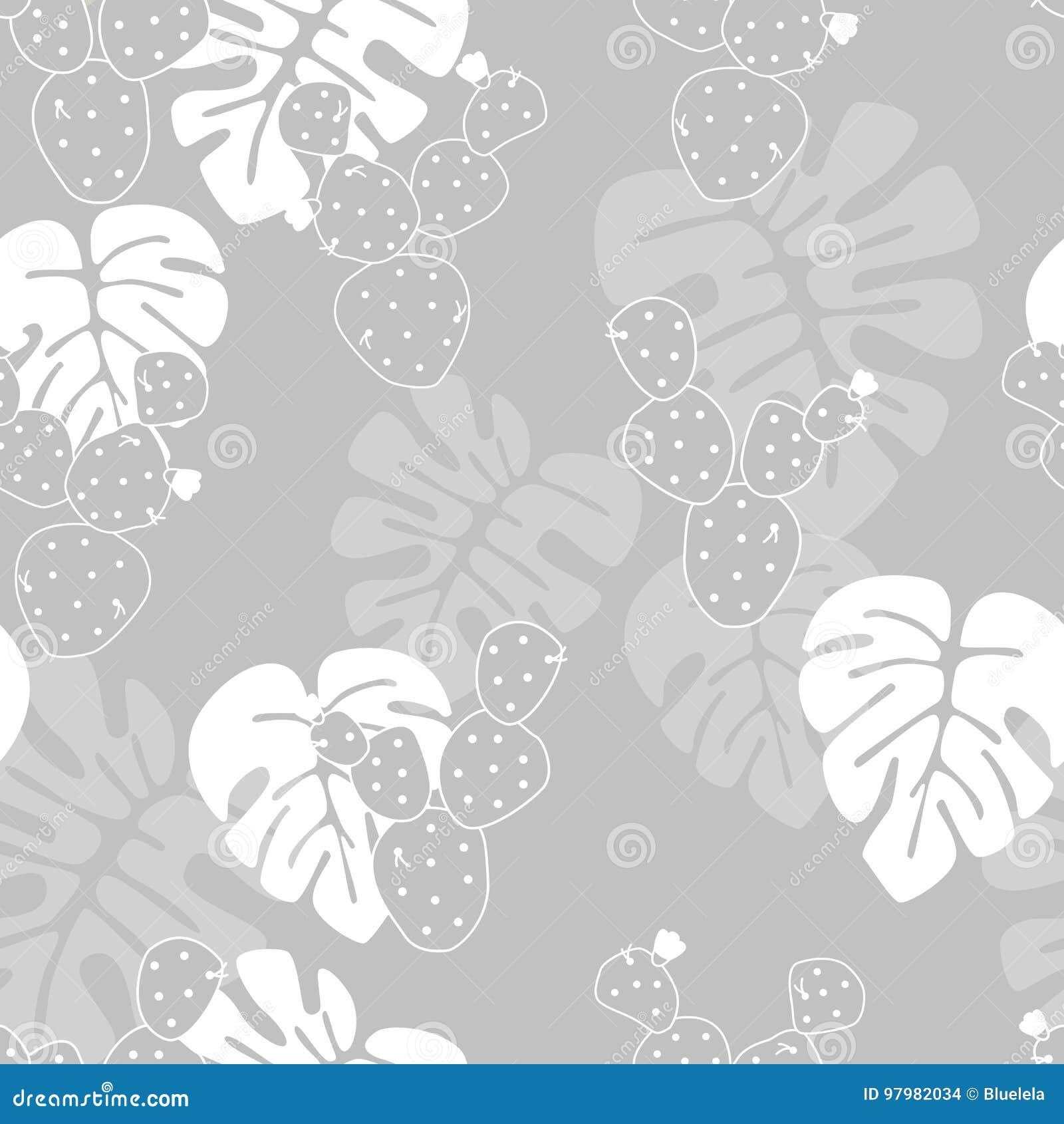 Modello tropicale senza cuciture con le foglie di palma di monstera e cactus su fondo grigio