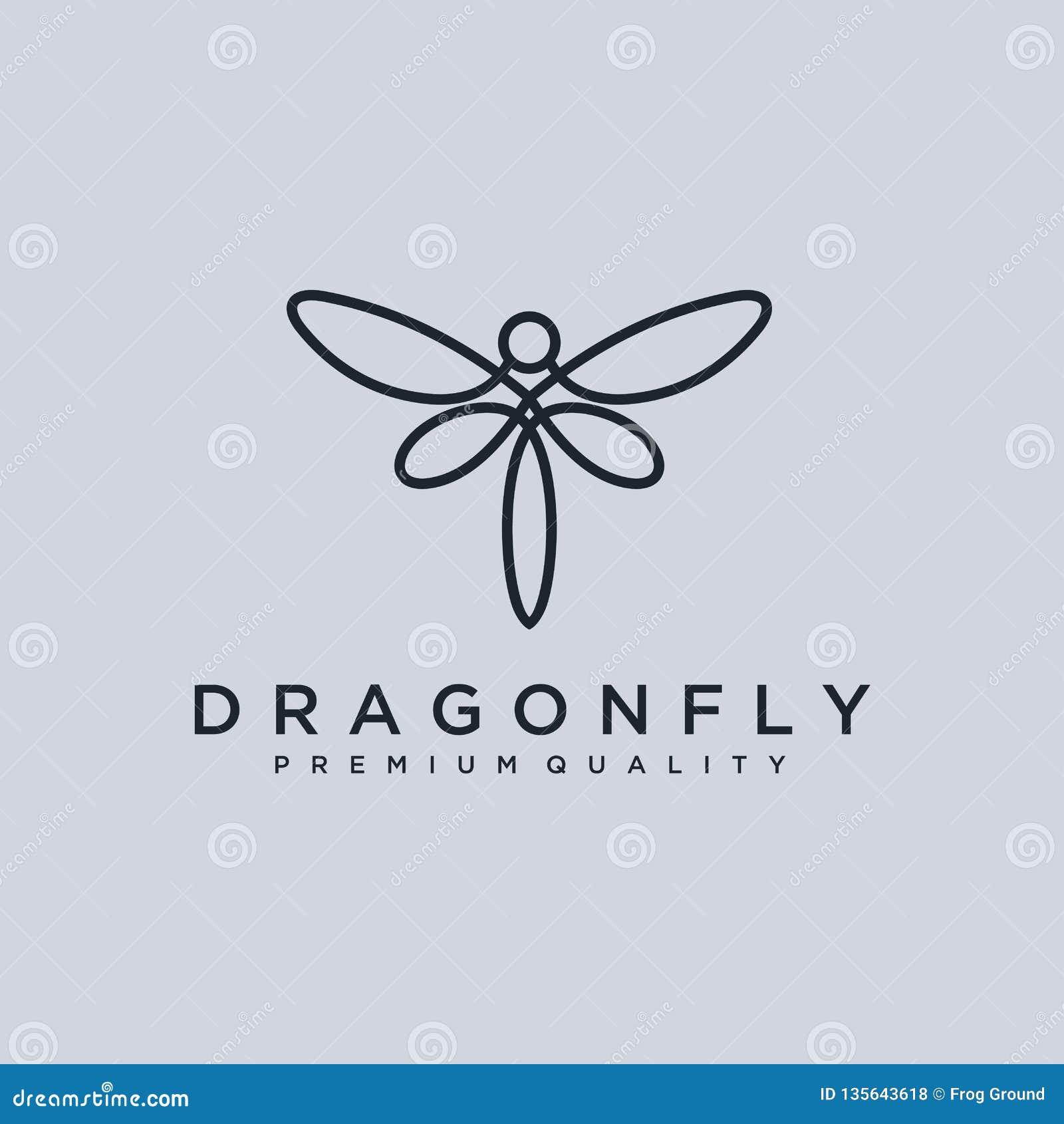 Modello unico di logo della libellula forma e colore semplici Vettore editable Progettazione elegante minimalista di logo della l